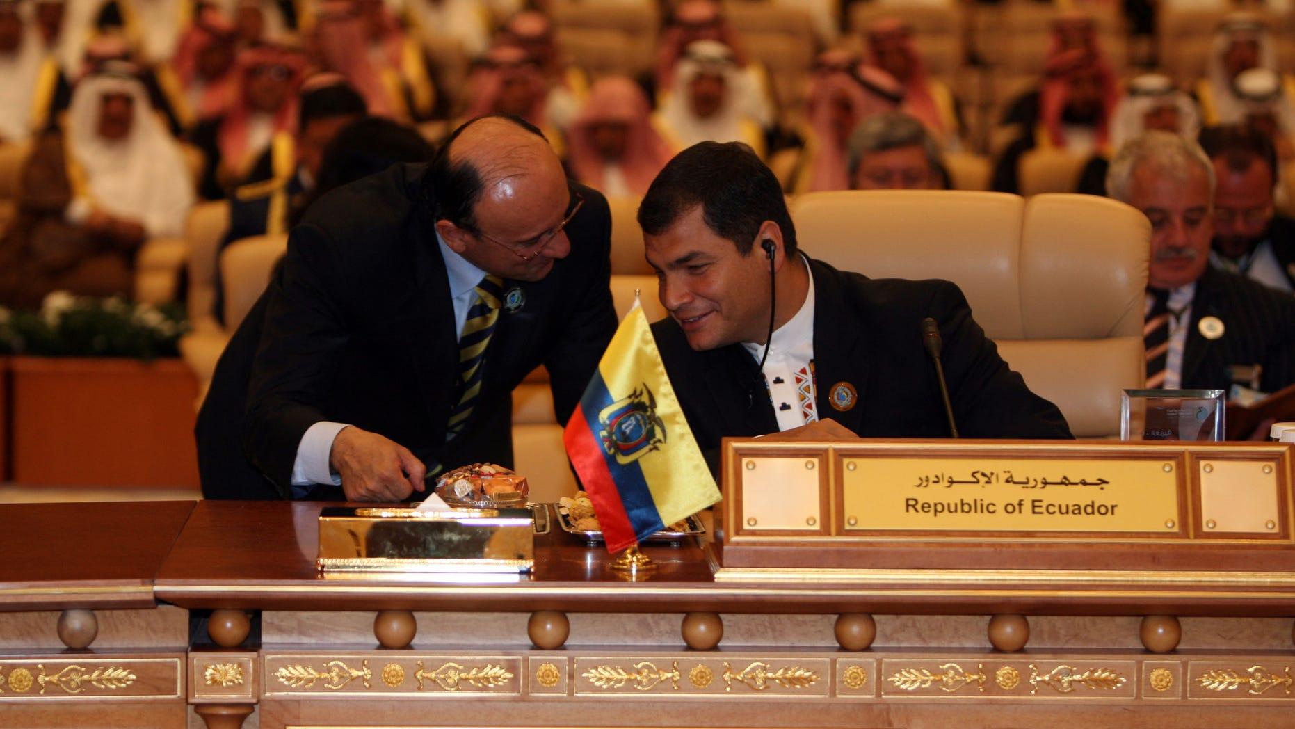 RIYADH, SAUDI ARABIA- NOVEMBER17: Ecuador's president Rafael Correa attends the opening session of the third OPEC Summit on November 17, 2007 in Riyadh, Saudi Arabia. (Photo by Salah Malkawi/ Getty Images)