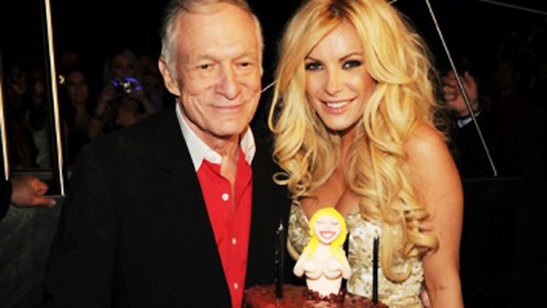 Hugh Hefner found new love with his current fiancee Crystal Harris, shown here with him at his 84th birthday party.