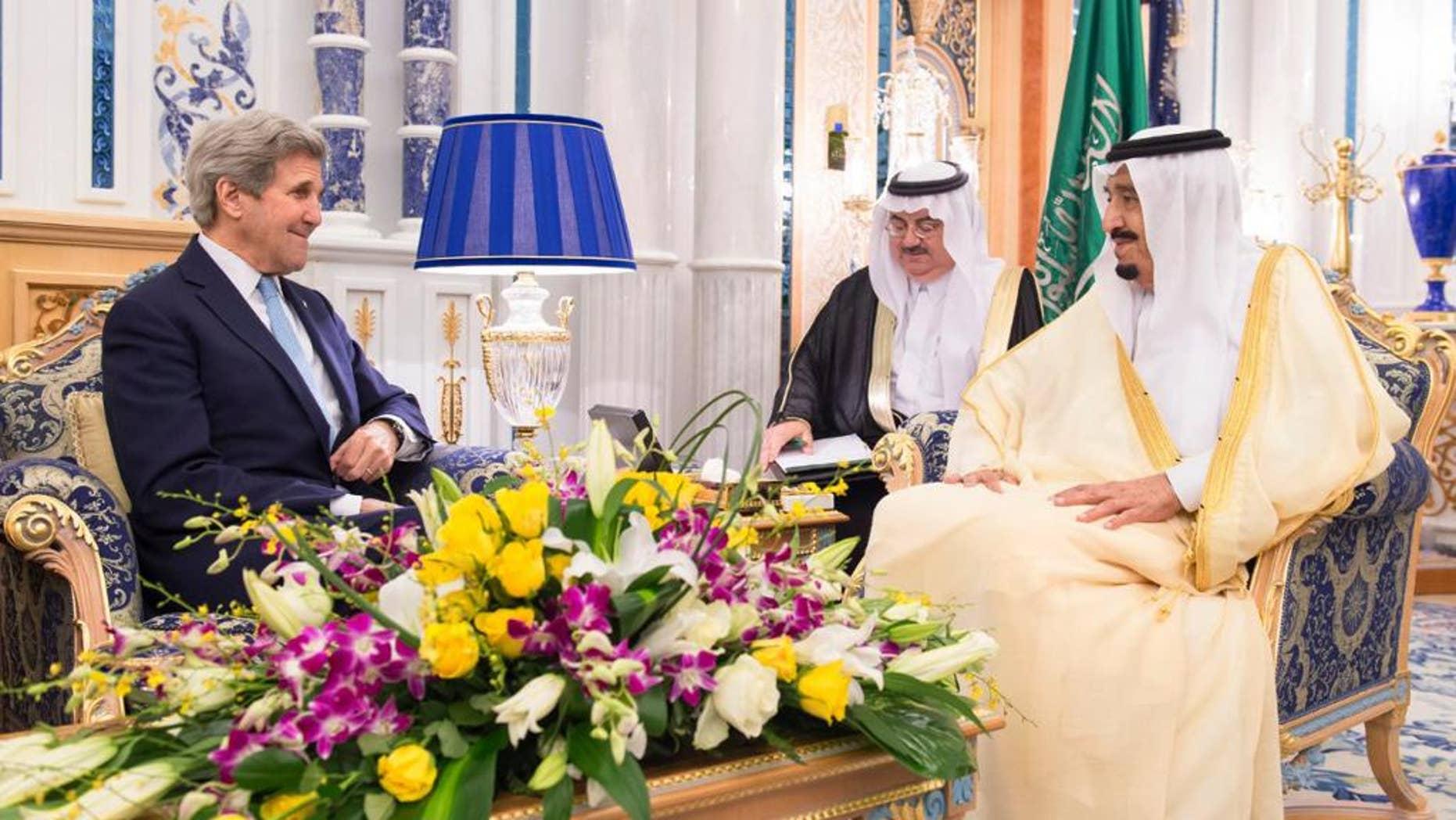 May 15, 2016: Saudi Arabia King Salman bin Abdul Aziz, right, meets with U.S. Secretary of State John Kerry in Jiddah, Saudi Arabia. (Saudi Press Agency via AP)