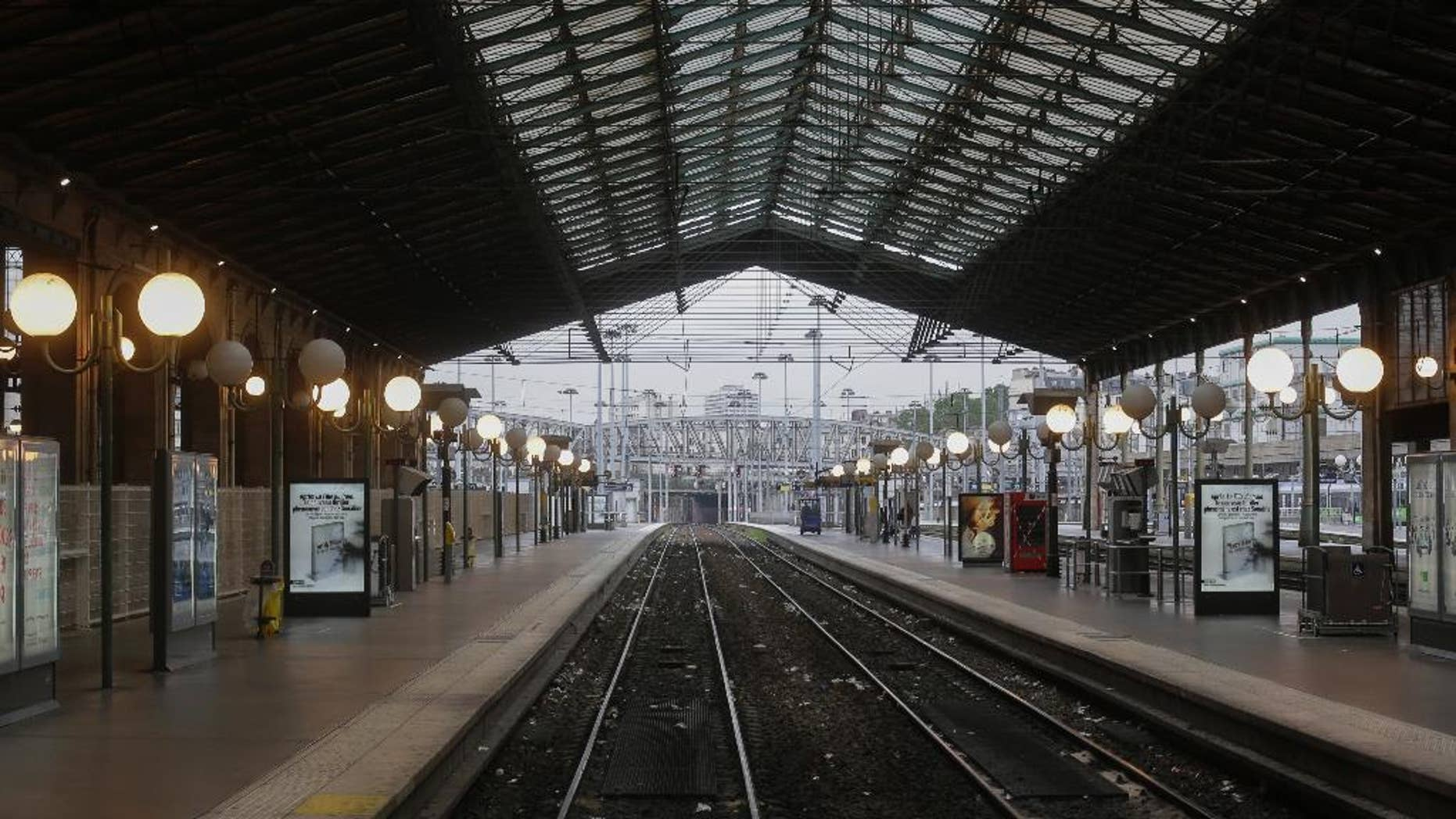 This image shows the Gare du Nord train station in Paris during a workers' strike June 2, 2016.