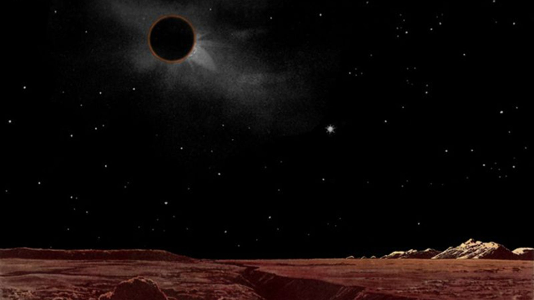 A painting of a total lunar eclipse viewed from the surface of the moon, as imagined by Lucien Rudax in the 1920s.