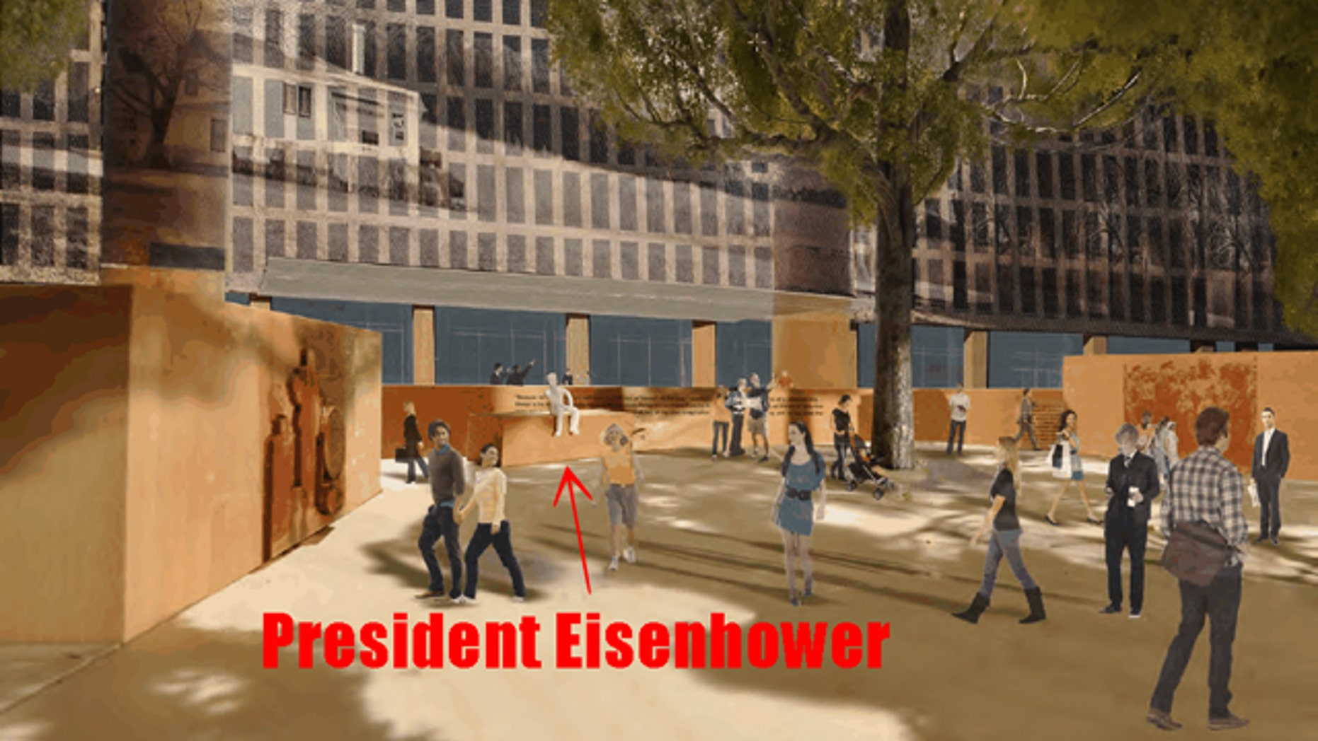 Shown here is a depiction of the initial design proposal for the Eisenhower memorial. The architect has since proposed a new design following family objections.