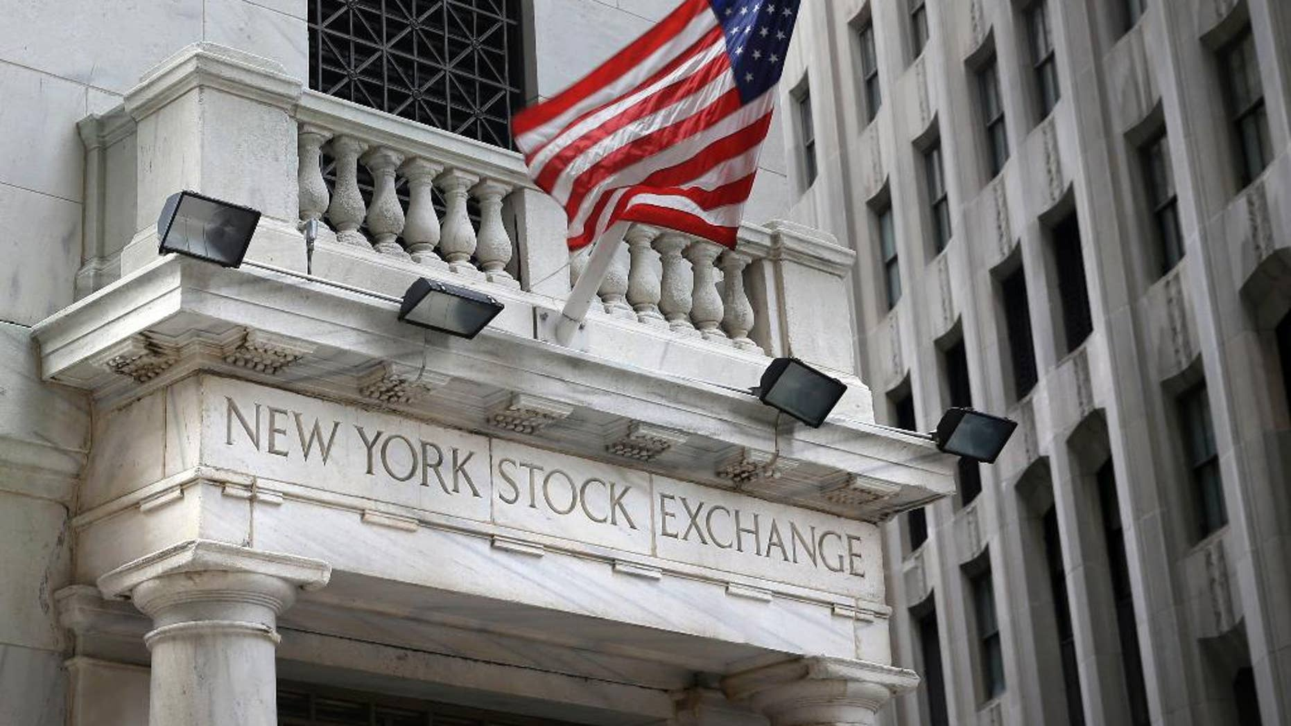 FILE - This Monday, Aug. 24, 2015, file photo, shows the New York Stock Exchange. U.S stocks fell in early trading Tuesday, Dec. 8, 2015, following a sell-off in Asia and Europe as the price of oil continued to slide to seven-year lows. The losses were broad, with all 10 industry sectors of the Standard and Poor's 500 index down. (AP Photo/Seth Wenig, File)