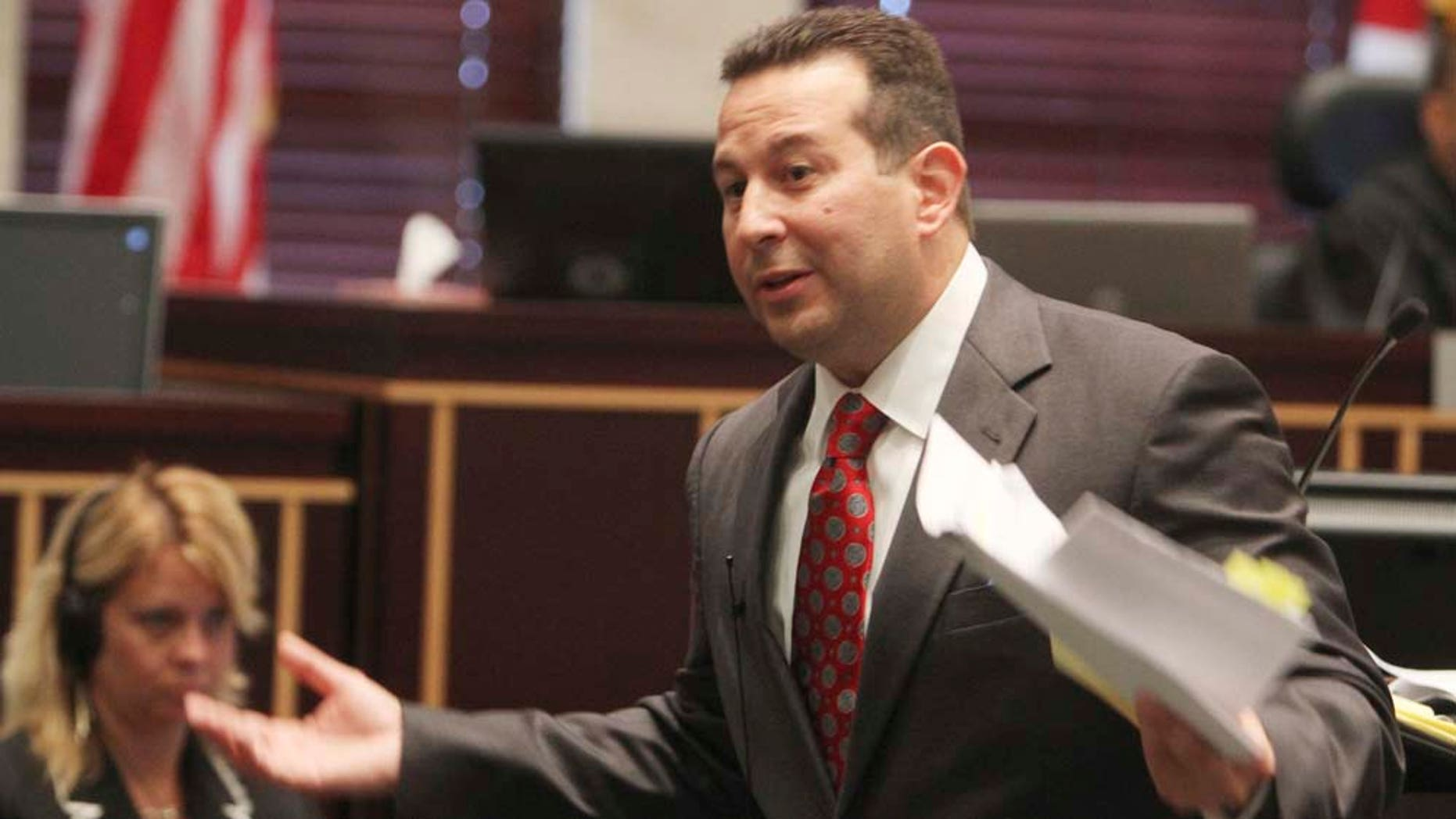 Defense attorney Jose Baez presents closing arguments in the Casey Anthony murder trial at the Orange County Courthouse in Orlando, Fla.,Sunday, July 3. Anthony, who faced the death penalty, was found not guilty of killing her daughter.
