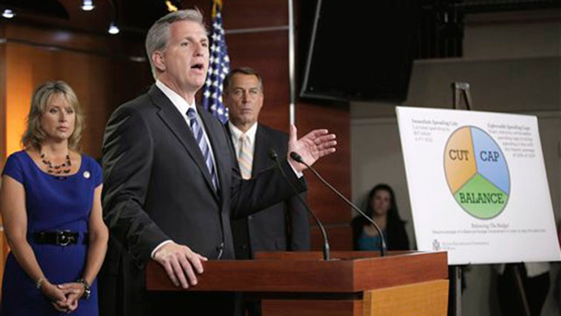 FILE: UNDATED: House Majority Leader Kevin McCarthy, center, talks on Capitol Hill about the debt ceiling, Washington, D.C.