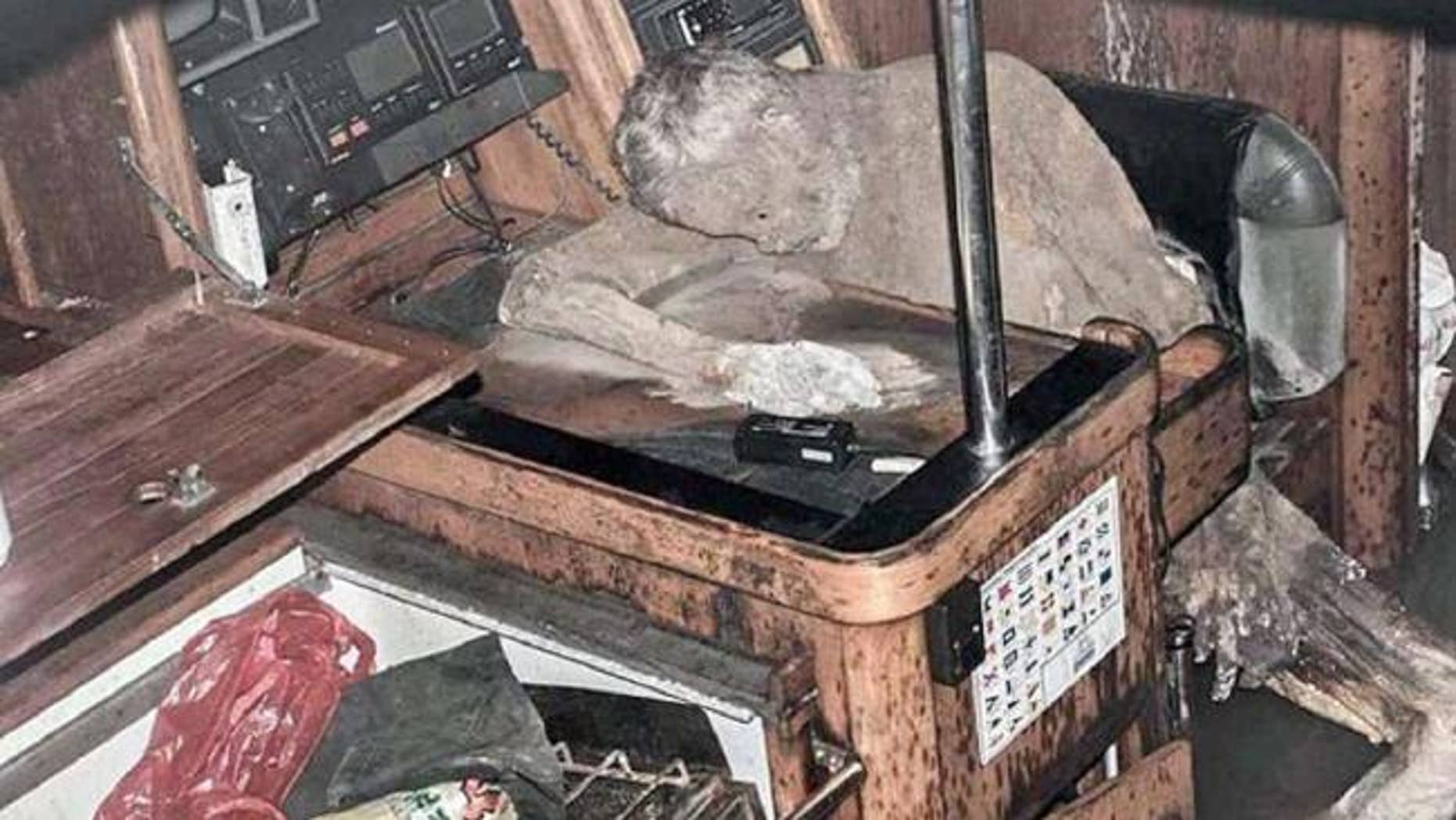 The mummified body of Manfred Fritz Bajorat was found in a boat drifting off the coast of the Philippines. (Barobo Police via News.com.au)