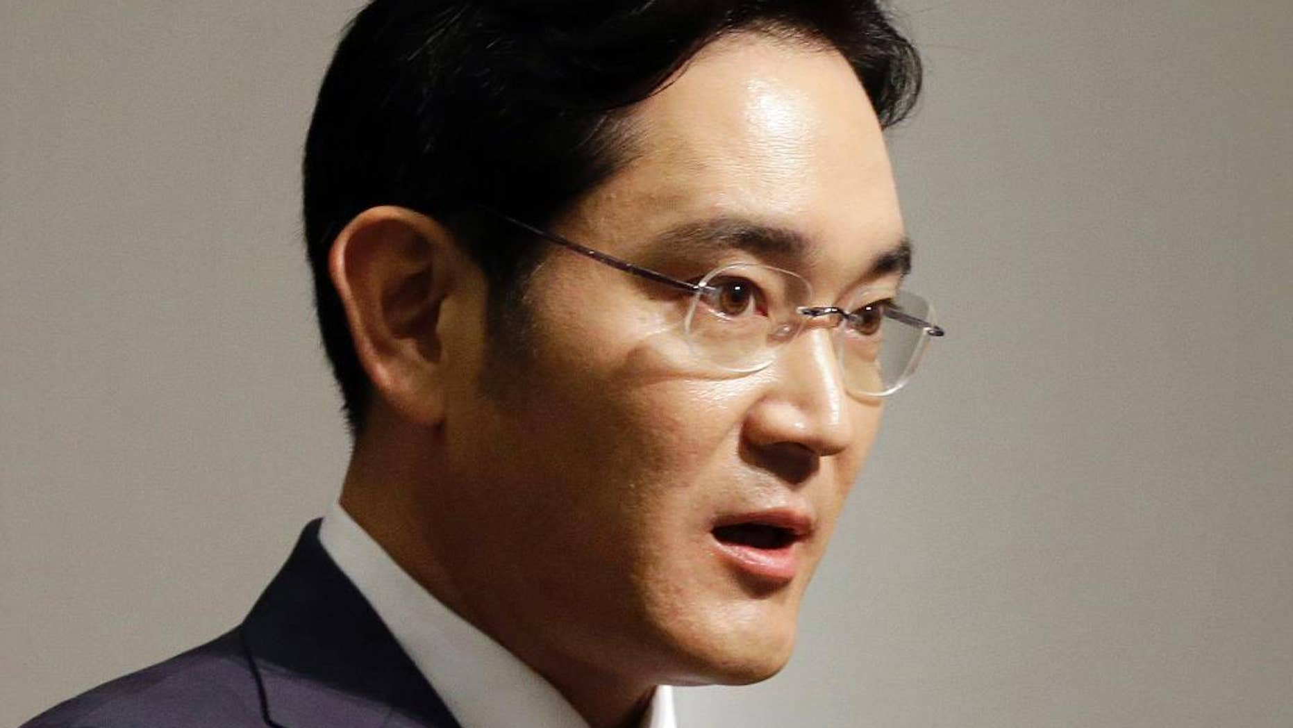 FILE - In this June 23, 2015, file photo, Lee Jae-yong, vice chairman of Samsung Electronics Co., speaks during a press conference at the company's headquarters in Seoul, South Korea. Lee, the only son of its ailing chairman, was nominated Monday, Sept. 12, 2016, to join its board of directors. The announcement comes as the South Korean company grapples with an unprecedented smartphone recall that has wiped out billions of dollars from its market value. (AP Photo/Ahn Young-joon, File)