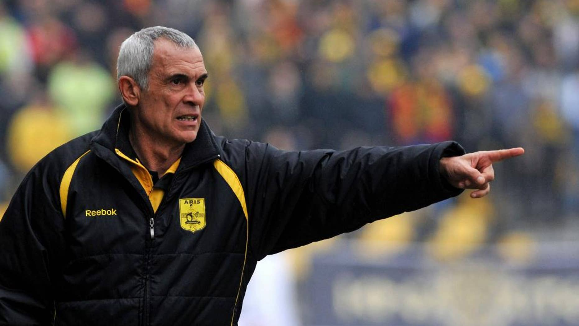 FILE - In this Feb. 17, 2010 file photo, former Aris' head coach Hector Cuper of Argentina, gives instructions to his players during a Greek League soccer match in Thessaloniki, Greece. The Egyptian Football Association announced on Monday, March 2, 2015 that they have appointed Cuper as the new manager of its national team. The 59-year old previously led the Emirati al-Wasl club, and the Spanish Racing de Santander. Egypt's team has been without a fulltime manager since American Bob Bradley quit in late 2013 after he failed to take the Pharaohs to the World Cup in Brazil. Egyptian soccer suffered a massive setback when more than 70 soccer fans were killed in post-match violence in 2012. Last month, 20 fans died in a stampede outside a stadium as police fired tear gas. (AP Photo/Nikolas Giakoumidis, File)