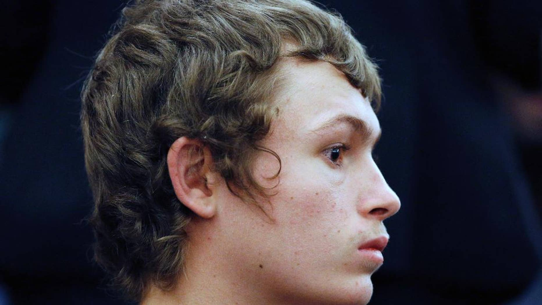 FILE - In a March 31, 2015 file photo, Erich Milton Nowsch Jr., 19, appears in court in Las Vegas. Nowsch, accused of fatally shooting Las Vegas neighborhood mother Tammy Meyers, says he mistook her for drug thugs who had threatened him and his family, according to a taped interview with Las Vegas police that defense attorneys now want tossed out of the puzzling murder case initially thought to be a road rage killing. (AP Photo/John Locher, File)