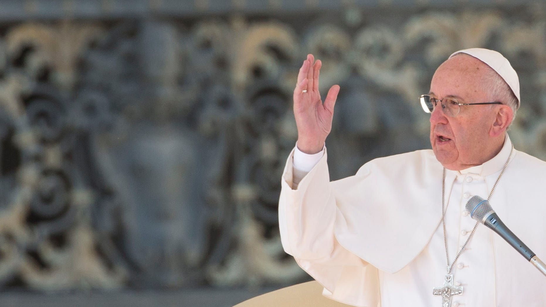 Pope Francis delivers his blessing at the end of  a special jubilee audience in St. Peter's Square at the Vatican, Saturday, Feb. 20, 2016. (AP Photo/Alessandra Tarantino)
