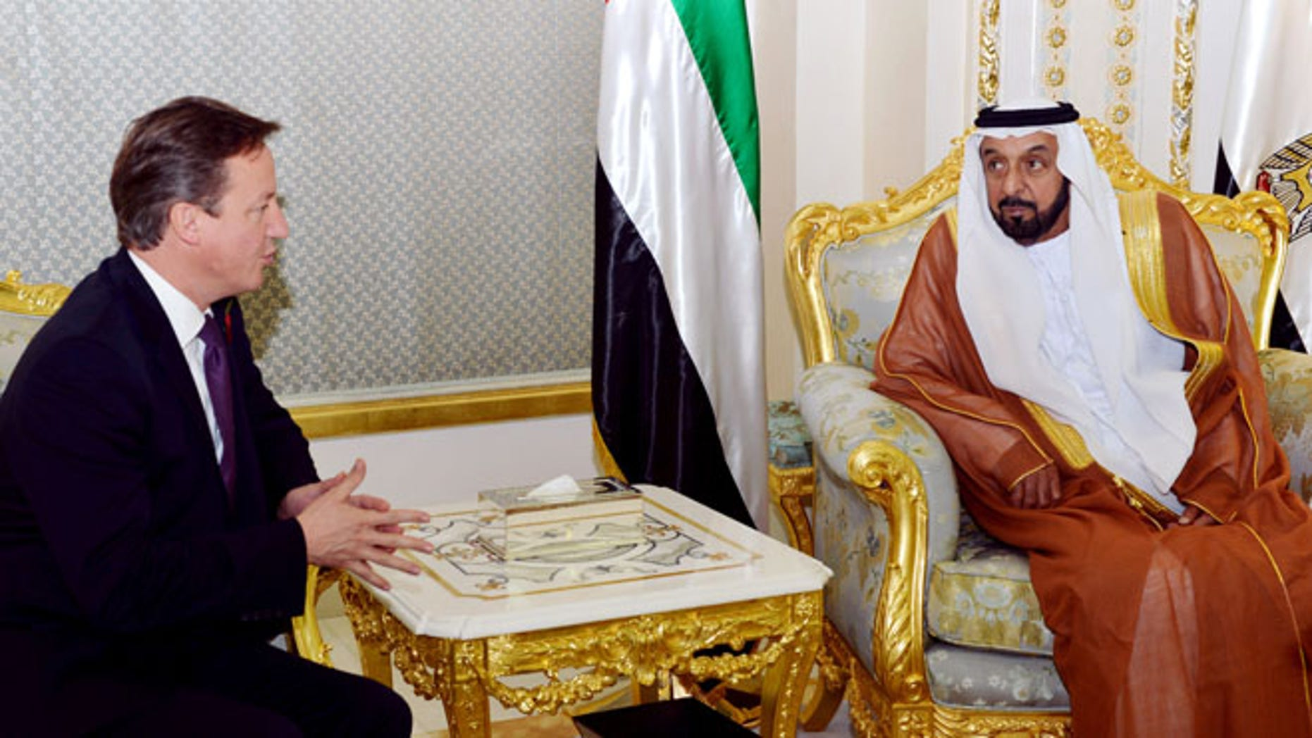 Nov. 6, 2012: British Prime Minister David Cameron, left, meets with President of the UAE, Sheikh Khalifa bin Zayed at al Nahyan at Al Rawda Palace in the city of al Ain in Abu Dhabi, United Arab Emirates.