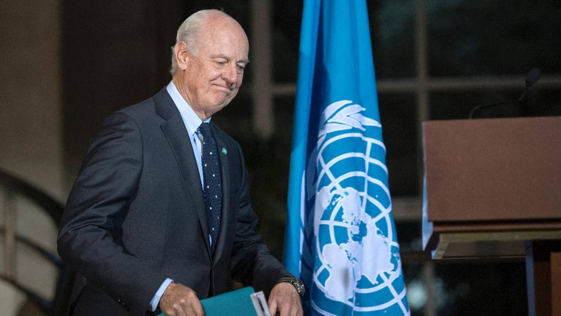 Staffan de Mistura, UN Special Envoy of the Secretary-General for Syria, arrives to a media conference after a new round of negotiations between the Syrian opposition delegation of High Negotiations Committee (HNC), at the European headquarters of the United Nations in Geneva, Switzerland, Wednesday, April 13, 2016. (Martial Trezzini/Keystone via AP)