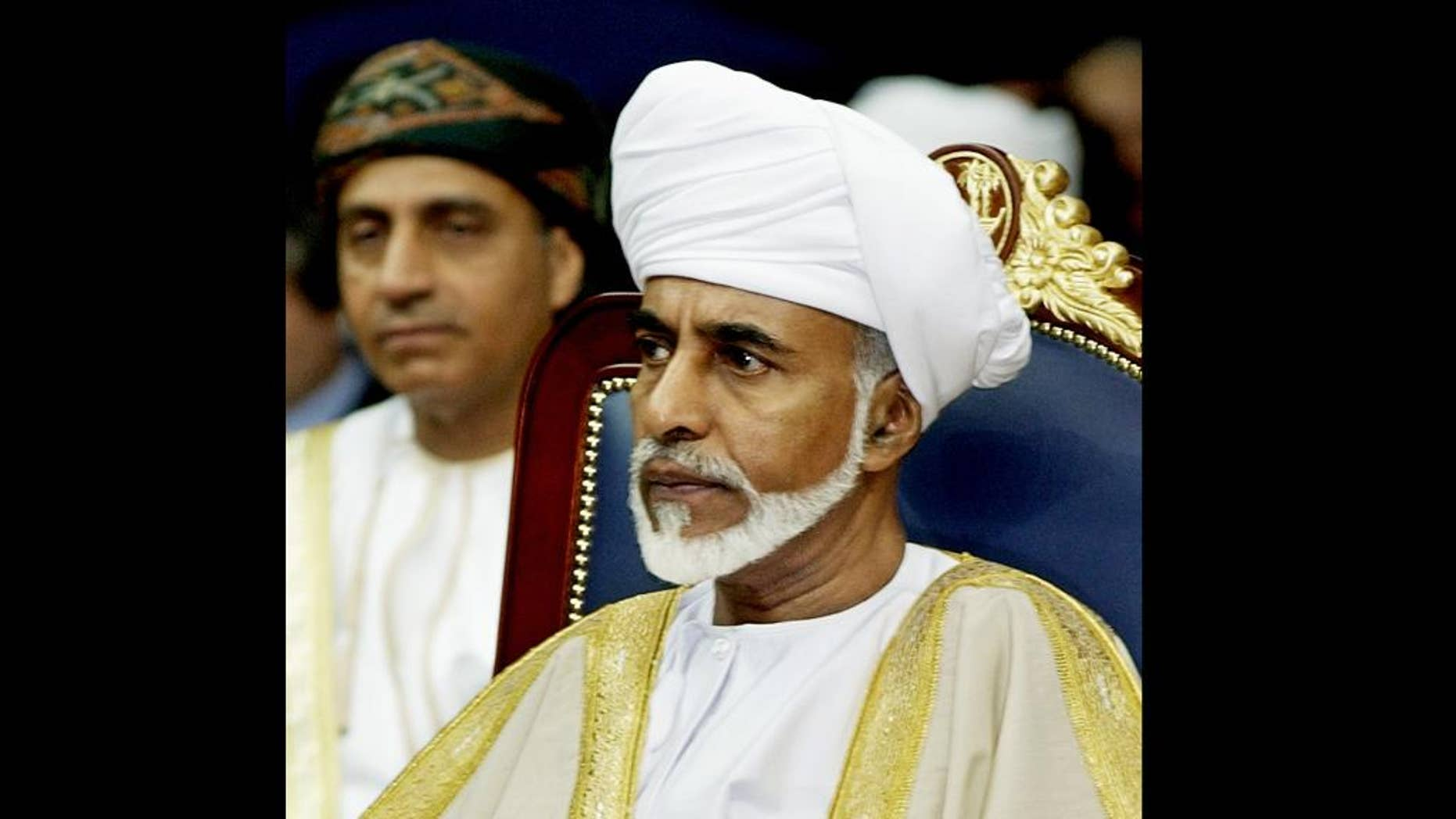 FILE - In this Saturday, Dec. 21, 2002 file photo, Sultan Qaboos bin Said of Oman attends the 23rd session of the Gulf Cooperation Council Summit in Doha, Qatar. Oman's state TV has aired images of the country's ailing 74-year-old ruler returning after several months of treatment in Germany. (AP Photo/Kevork Djansezian, File)