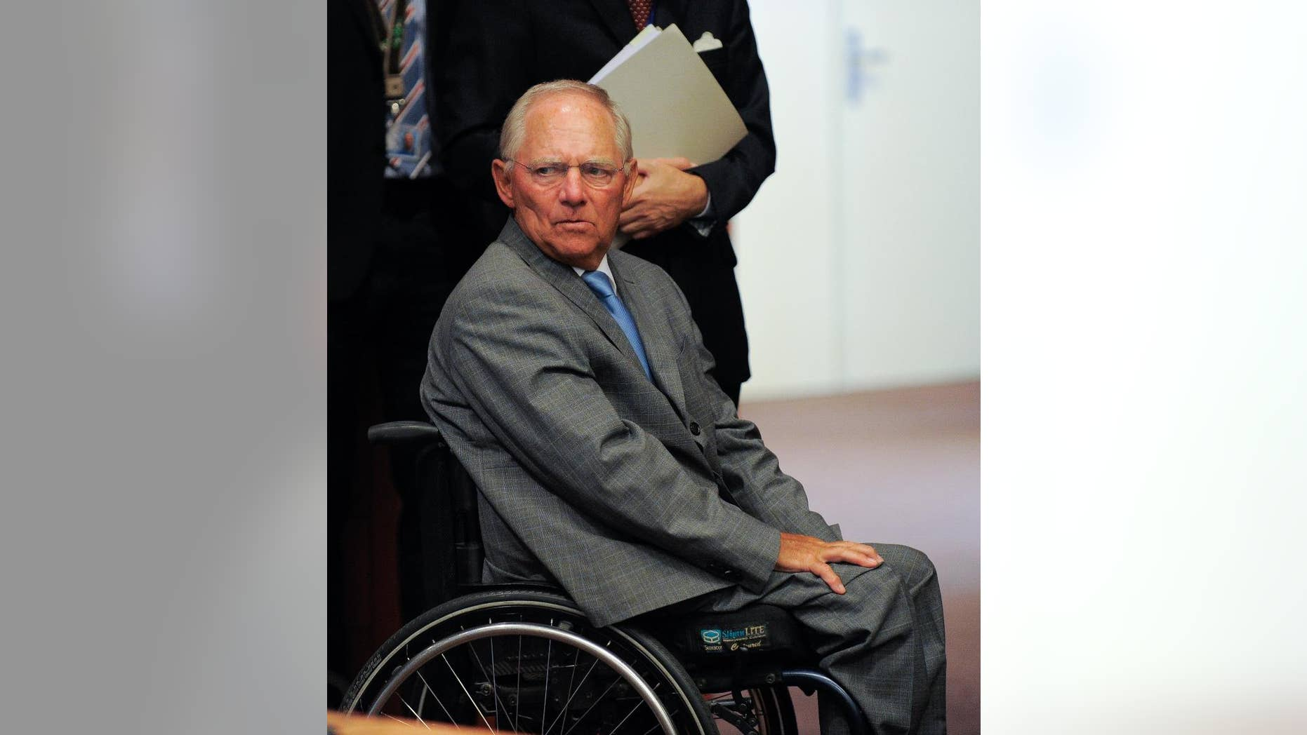 German Finance Minister Wolfgang Schaeuble during a meeting of eurozone finance ministers at the EU Council building in Brussels on Friday, Aug. 14, 2015. (AP Photo/Laurent Dubrule)