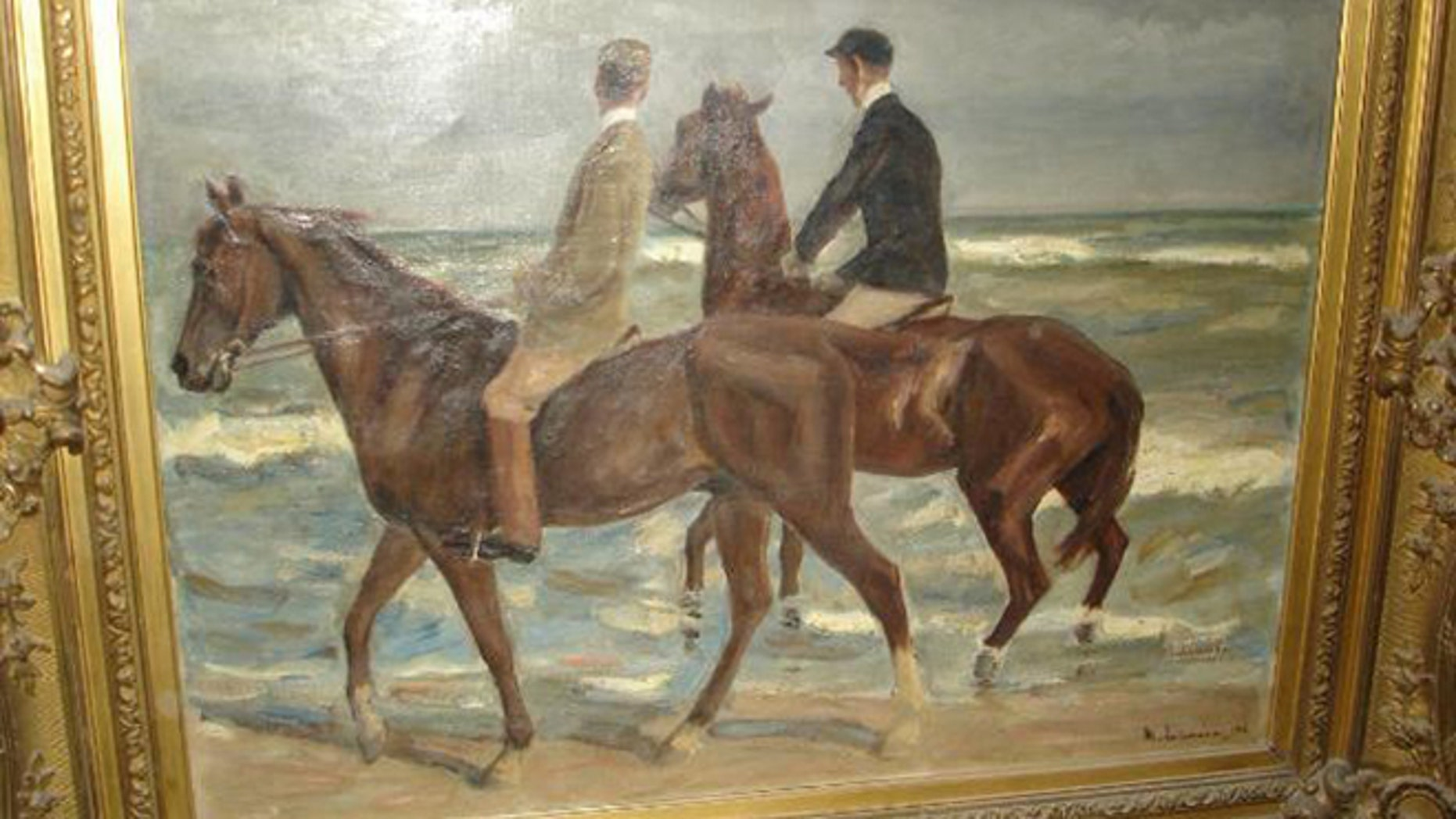 Photo provided by the Augsburg, southern Germany, prosecution Tuesday, Nov. 12, 2013 shows a painting 'Reiter am Strand' ('Riders at the Beach') by German artist Max Liebermann from 1901 that was among the more than 1400 art works that were seized by German authorities in an apartment in Munich in February 2012.