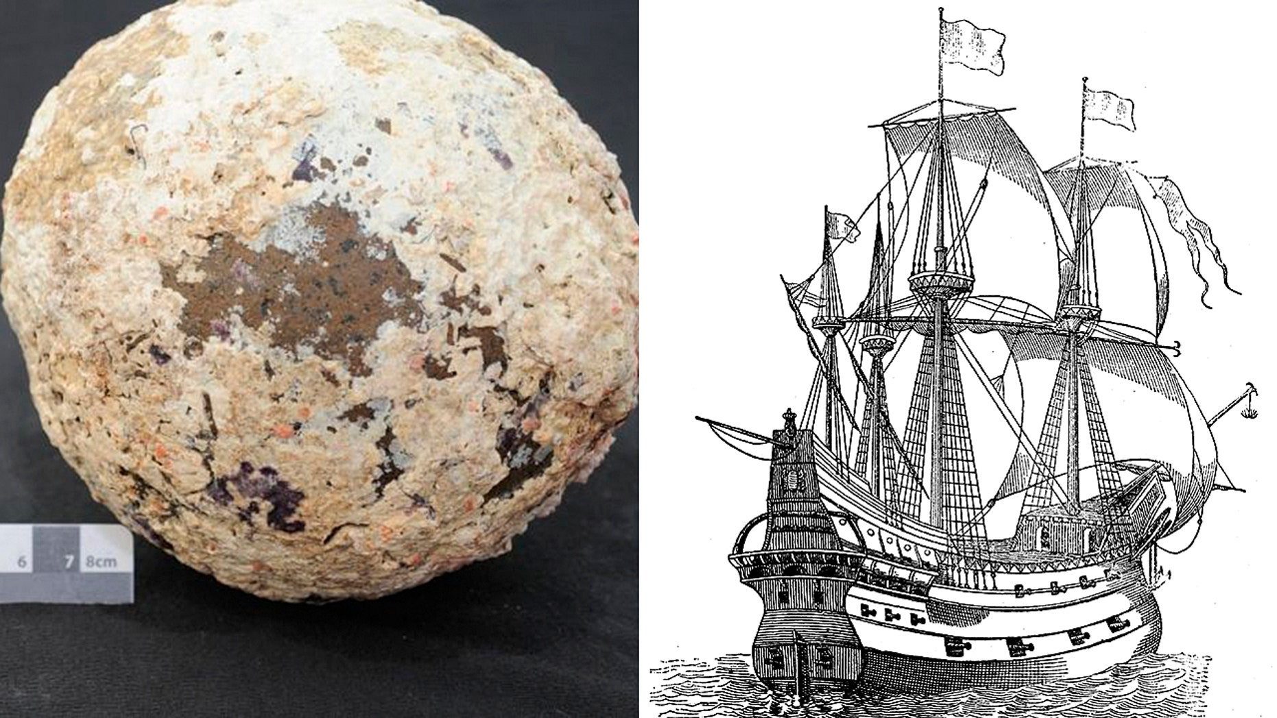 "The cannonball believed to be from the wreck of the Spanish Galleon ""San Francisco"" (Ian McCann) and an illustration of a galleon (iStock/nicoolay)"
