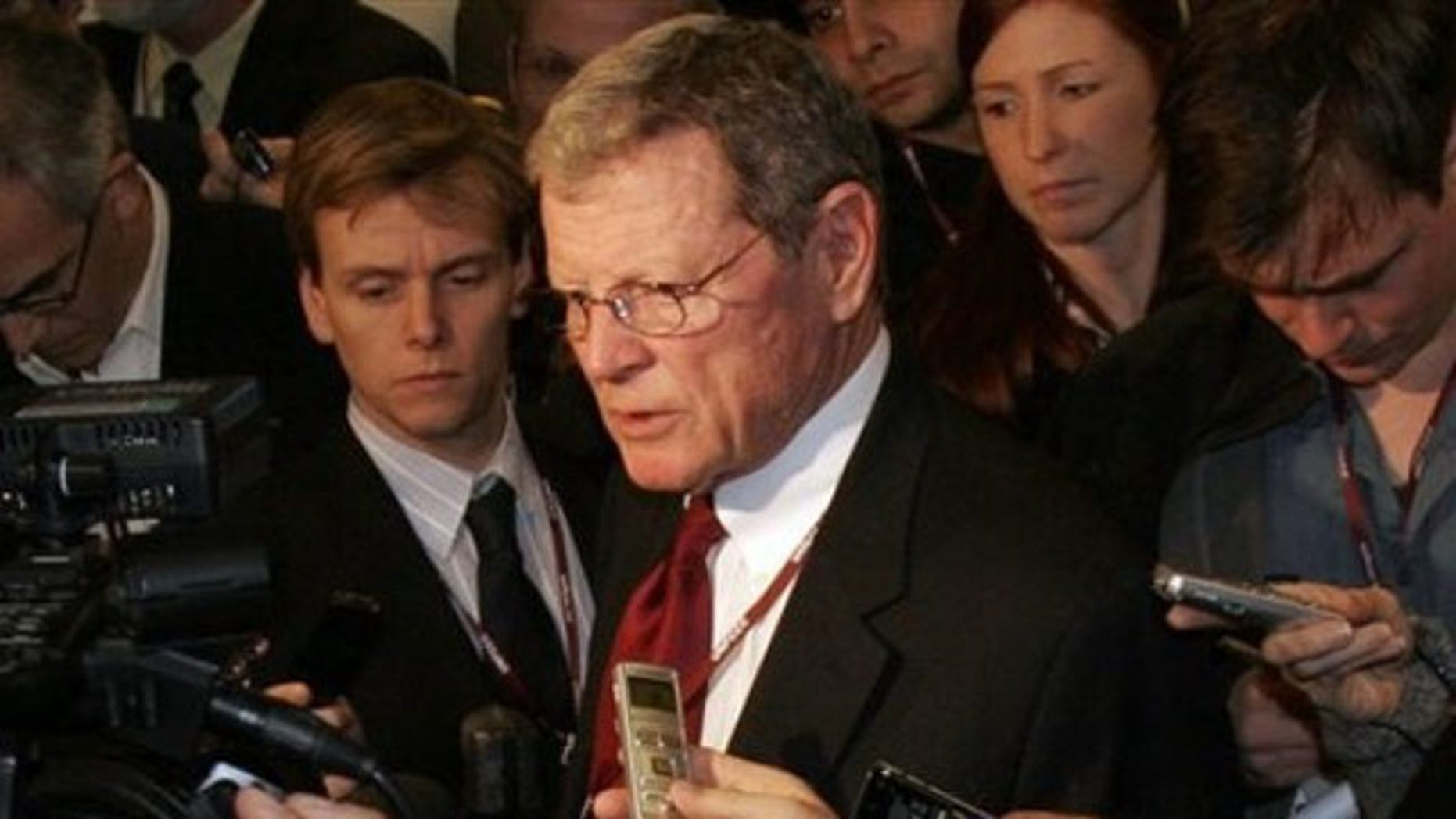 FILE: Dec. 17, 2009: Sen. James Inhofe speaks at a U.N. Climate Summit in Copenhagen.