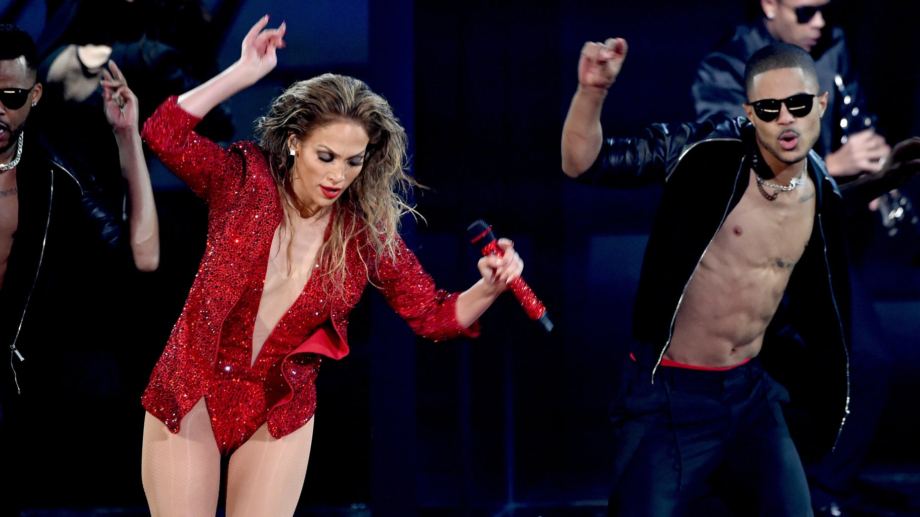 Jennifer Lopez at the 2014 American Music Awards on November 23, 2014 in Los Angeles, California.