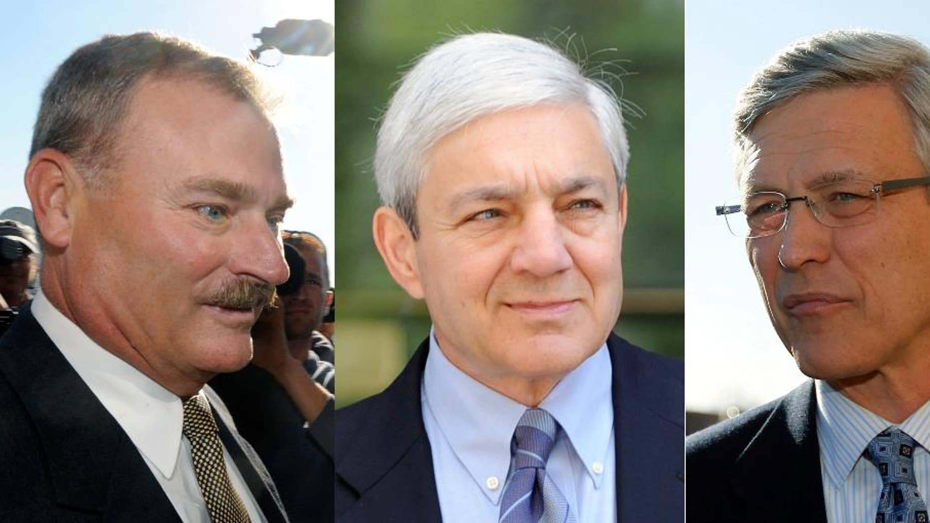 FILE - This combination of 2011 and 2013 photo shows, from left, former Penn State vice president Gary Schultz, former Penn State president Graham Spanier, and former Penn State director of athletics Tim Curley in Harrisburg, Pa.  A Pennsylvania appeals court said Wednesday, March 30, 2016,  it won't reconsider a recent decision throwing out some of the most serious criminal charges against three former Penn State administrators related to their handling of the Jerry Sandusky child molestation scandal.  (AP Photo/Brad Bower, Matt Rourke)
