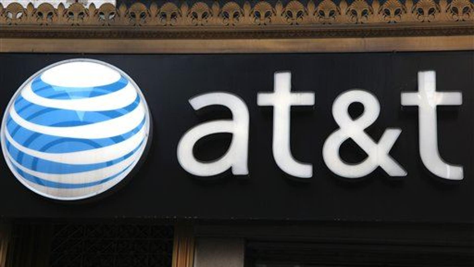 An AT&T sign at a store in New York.