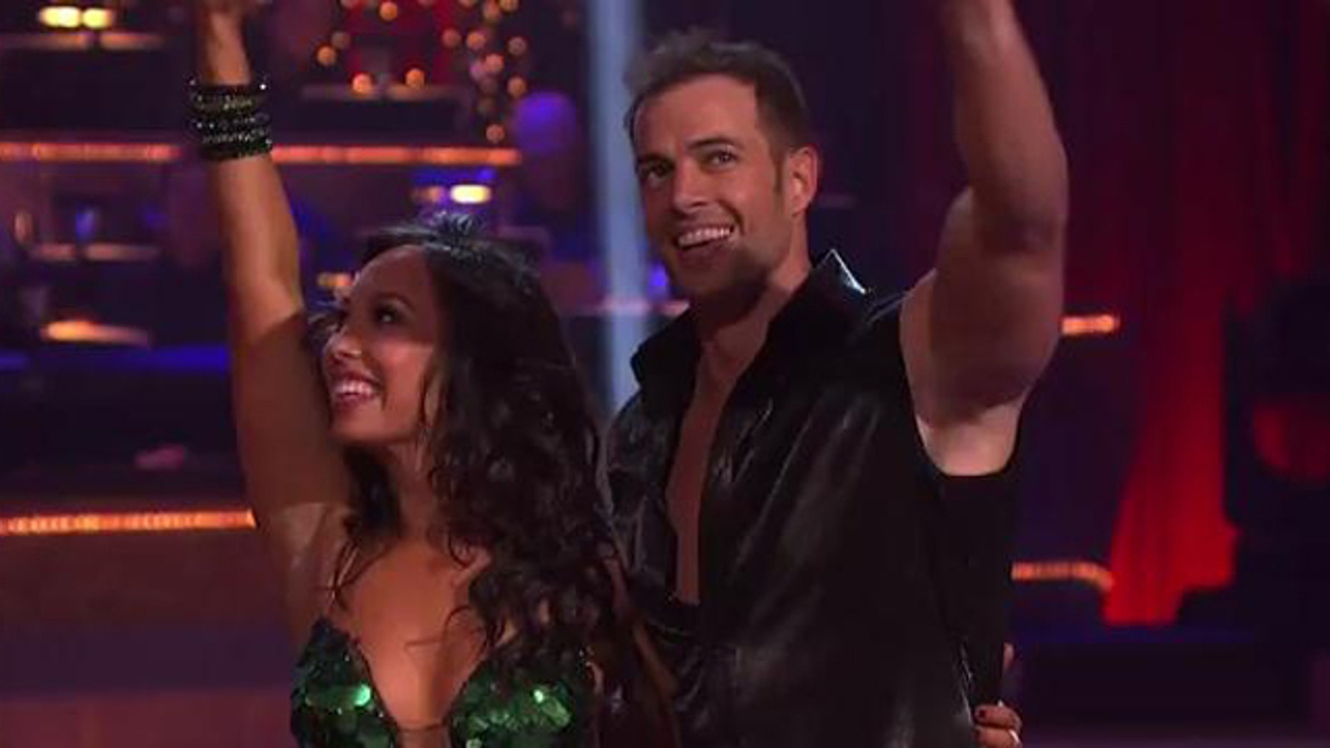 "March 19, 2012: Telenovela actor William Levy and dancing partner Cheryl Burke are all smiles after performing a cha cha number to Pitbull's ""International Love"" Monday evening on ""Dancing With the Stars."""