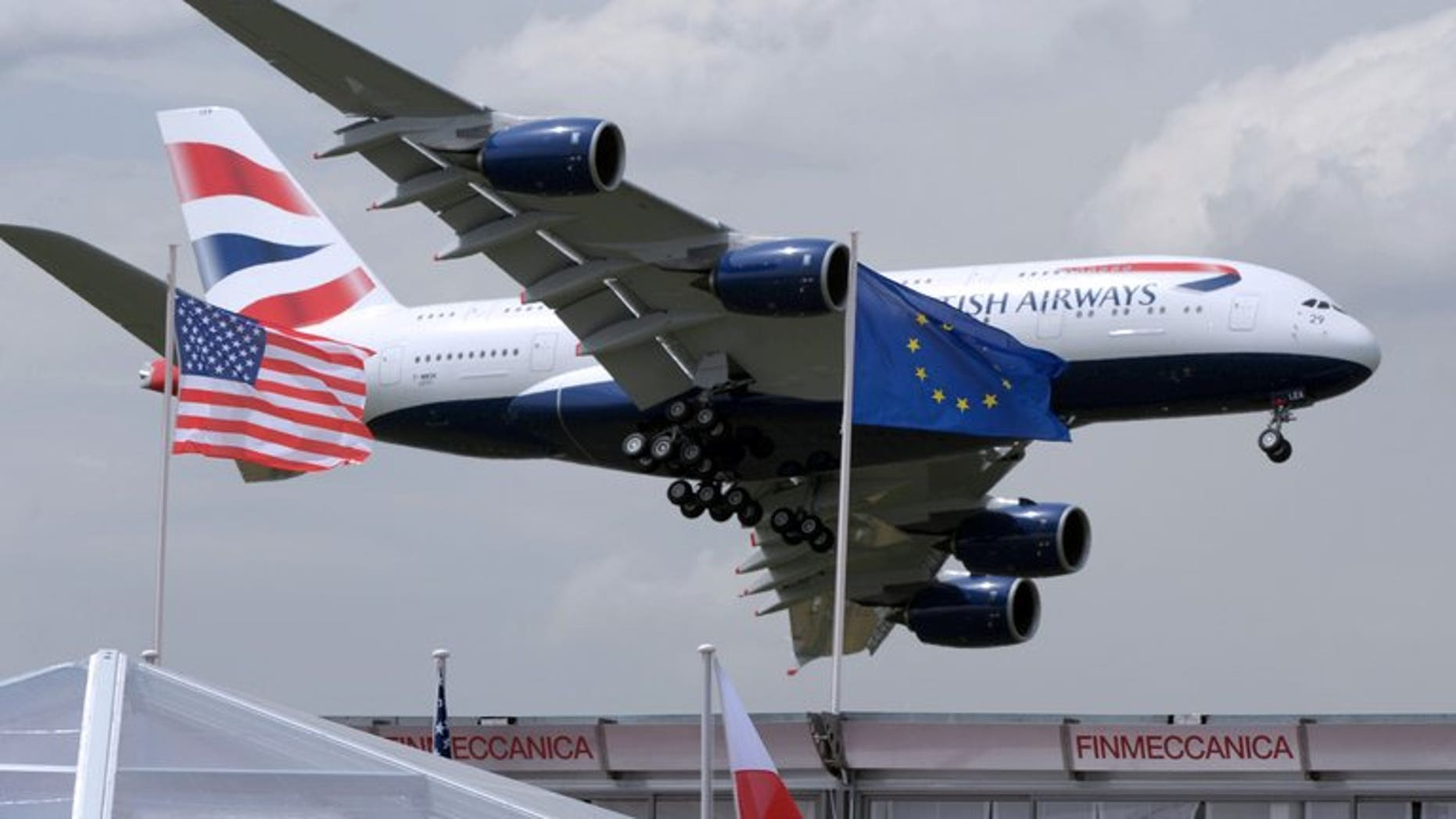 A British Airways Airbus A380 lands after a display at Le Bourget airpor, near Paris.