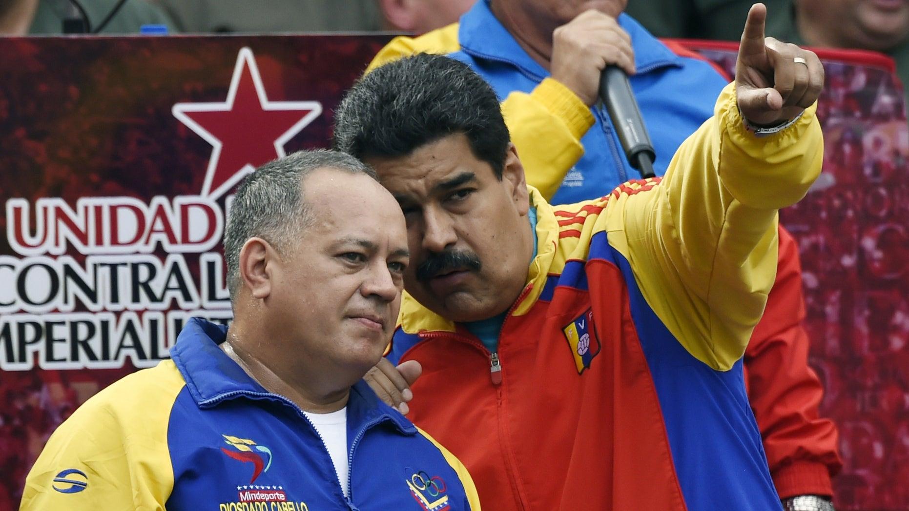 Venezuelan President Nicolas Maduro and Cabello in Caracas on March 15, 2015.