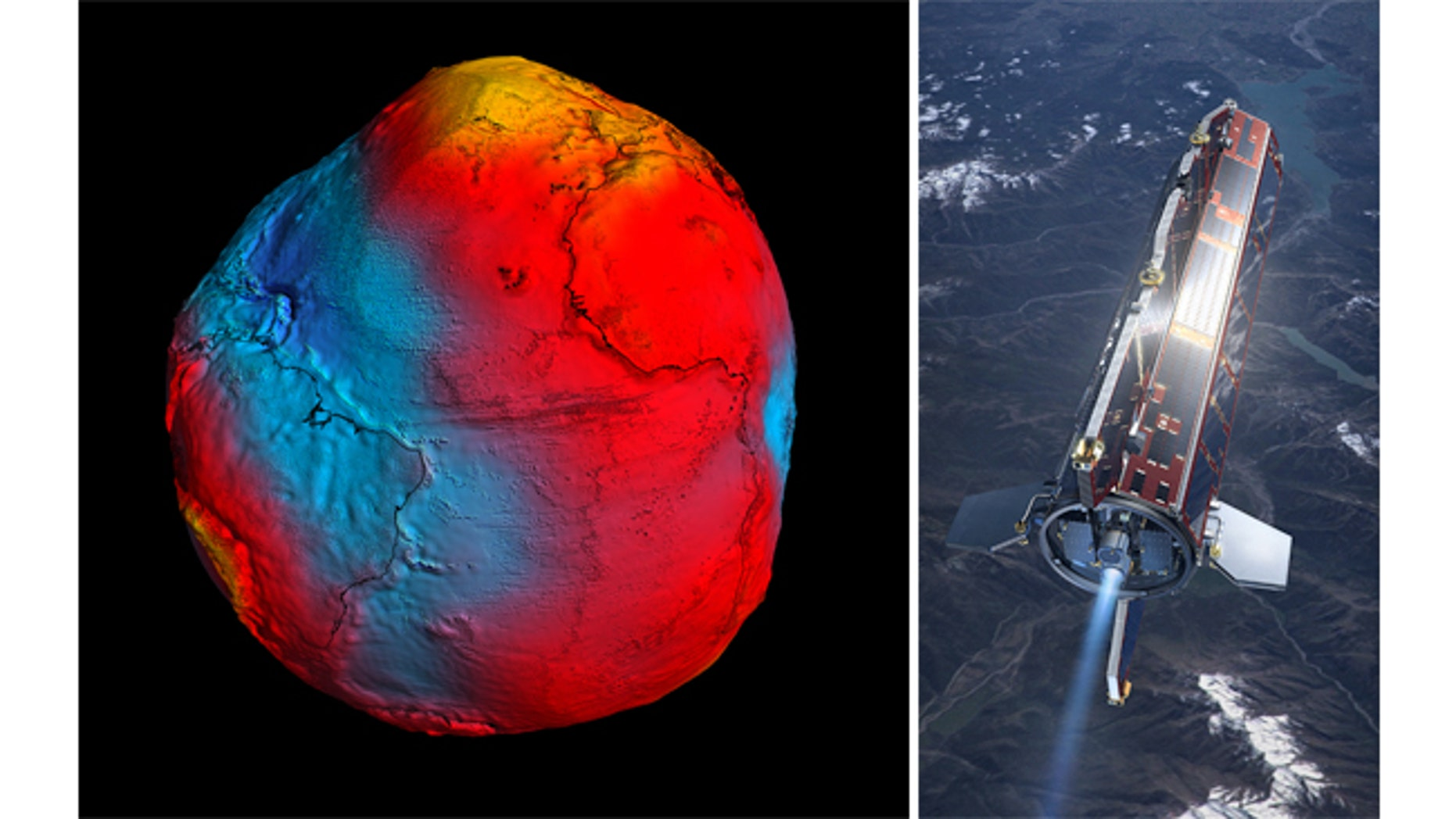 """ESA's staellite (right) has delivered the most accurate model of the """"geoid"""" ever produced."""