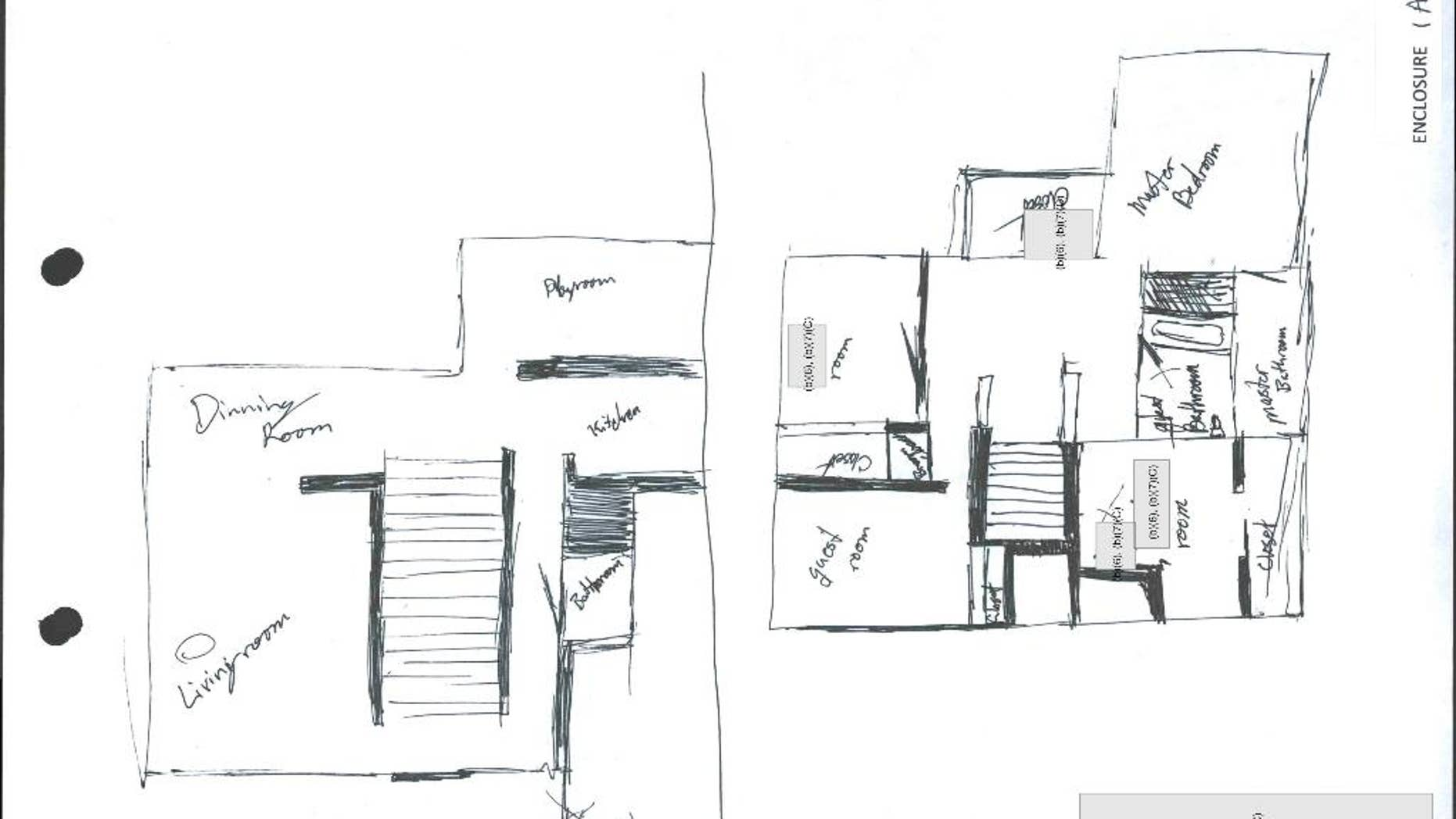 This diagram taken from U.S. Naval Criminal Investigative Service report, is of a drawing by Cpl. Aaron C. Masa during his interrogation showing the floor plan of the home, using X's and O's to show where the abuse occurred. A military judge convicted Masa of sexual abuse of a child and production of child pornography, according to court records and other documents detailing the case. Under the terms of a pretrial agreement, he agreed to plead guilty and received 30 years in prison. (U.S. Naval Criminal Investigative Service via AP)
