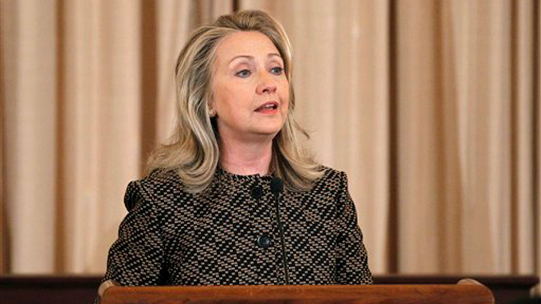 FILE: June 12, 2012: Secretary of State Hillary Clinton at  the State Department, in Washington, D.C.