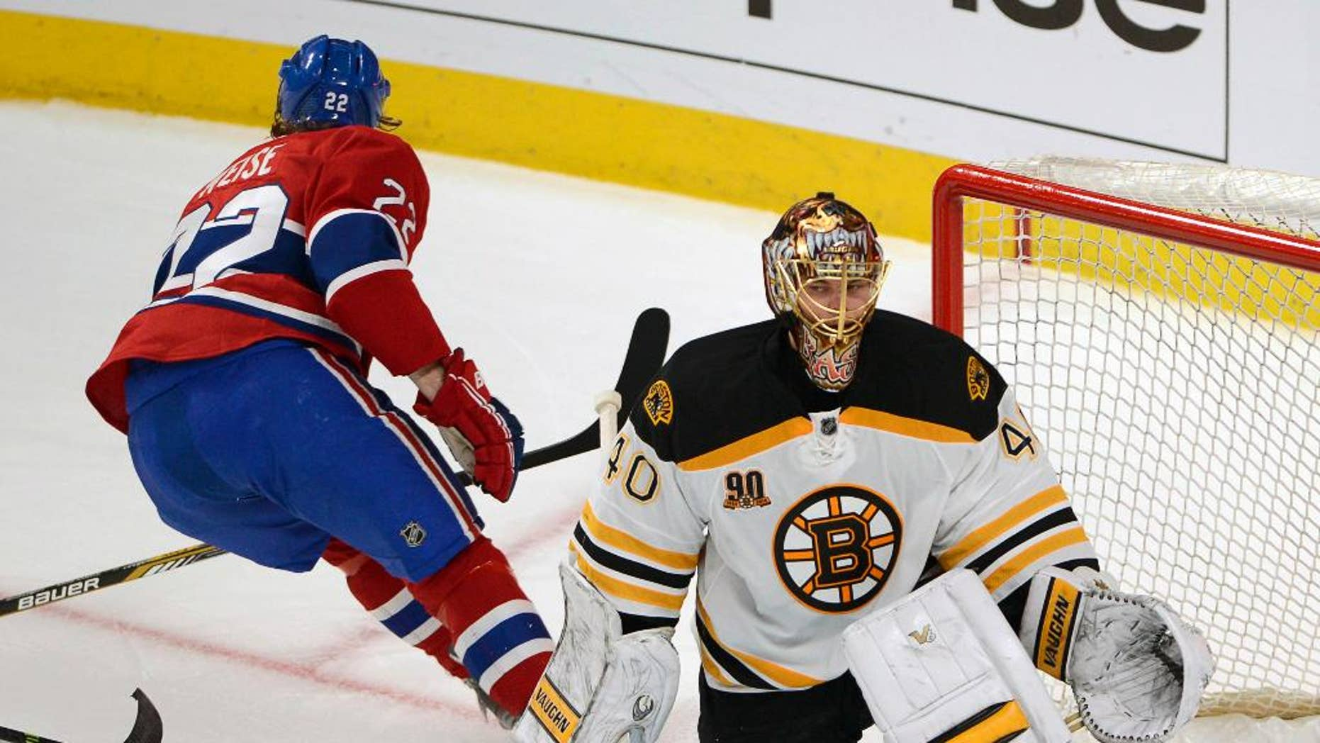 Montreal Canadiens right wing Dale Weise (22) scores the third goal against Boston Bruins goalie Tuukka Rask (40) during second period in Game 3 of an NHL hockey Stanley Cup playoff series, Tuesday, May 6, 2014, in Montreal. (AP Photo/The Canadian Press, Ryan Remiorz)