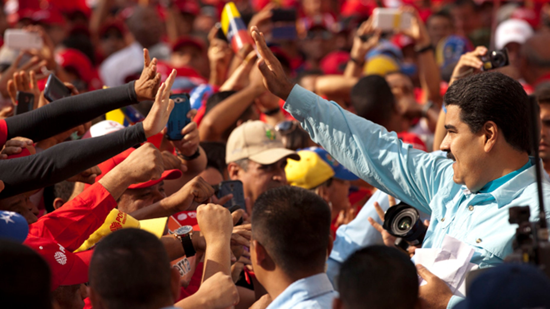Venezuela's President Nicolas Maduro during an anti-imperialist rally in Caracas, Wednesday, March 18, 2015.