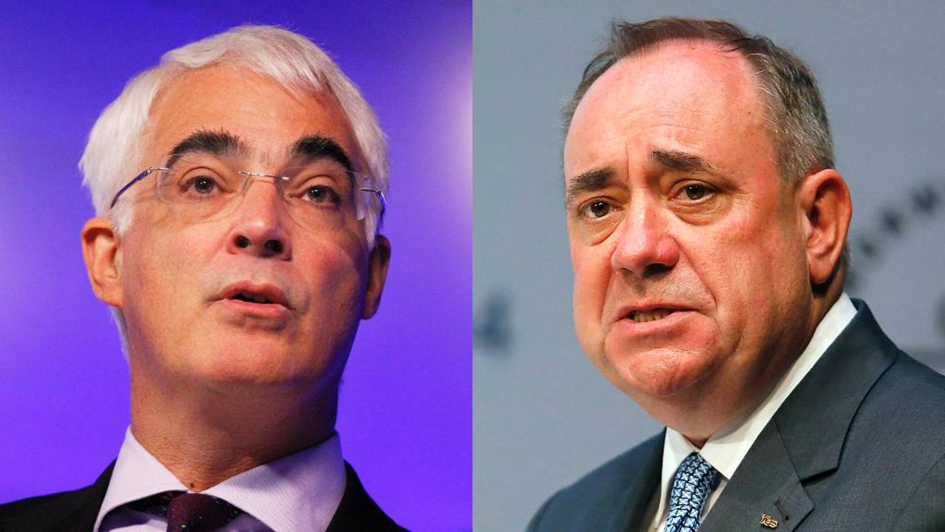 """This combination of 2010 and 2014 photos shows British Chancellor Alistair Darling and Scotland's First Minister Alex Salmond. On Monday, Aug. 25, 2014, Scotland's pro-independence First Minister Salmond and Darling, leader of the """"No"""" campaign, will take part in the last televised debate between the political leaders before the Sept. 18, 2014 referendum. (AP Photo/Sang Tan, Frank Augstein)"""
