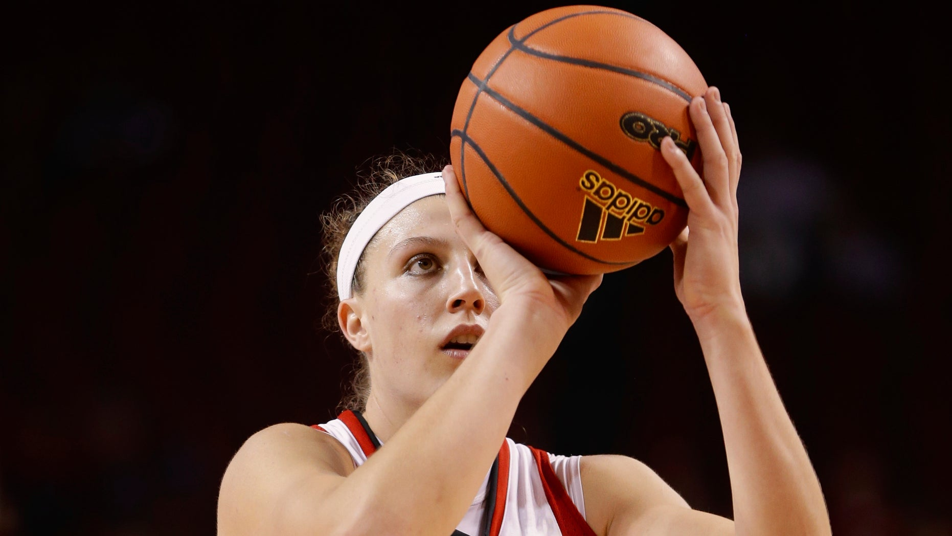 FILE -  In this Nov. 27, 2013 file photo, Nebraska's Jordan Hooper shoots in an NCAA college basketball game against UMass-Lowell in Lincoln, Neb. Hooper is on the verge scoring her 2,000th career point for 18th-ranked Nebraska. If she scores 10 points against Minnesota on Thursday, Jan. 16, 2014, she'll become the fourth player in program history to achieve the milestone. (AP Photo/Nati Harnik, File)