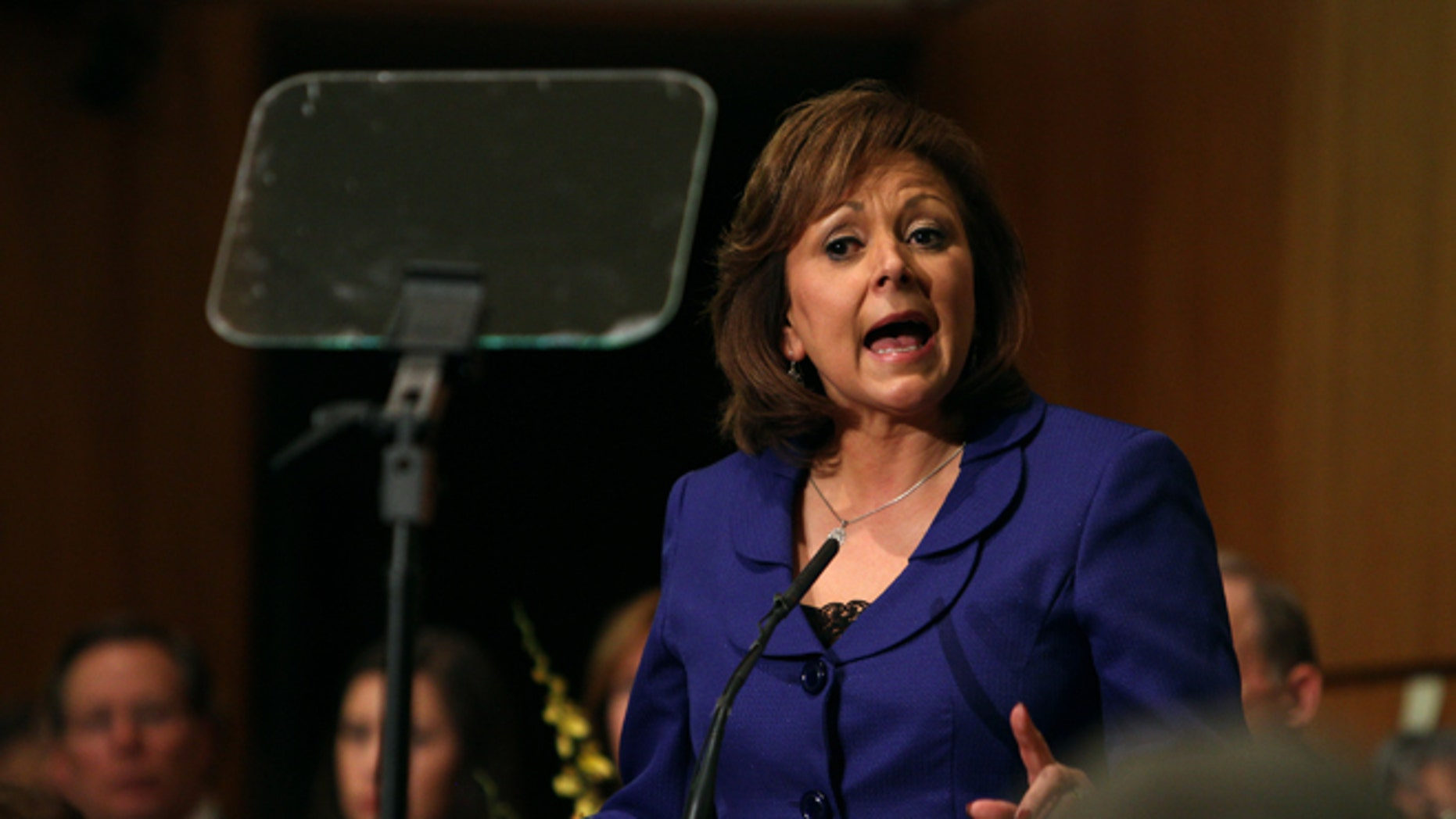 New Mexico Gov. Susana Martinez gives her State of the State address at the state Capitol, Tuesday, Jan 19, 2016, in Santa Fe, N.M. (AP Photo/Mark Holm)
