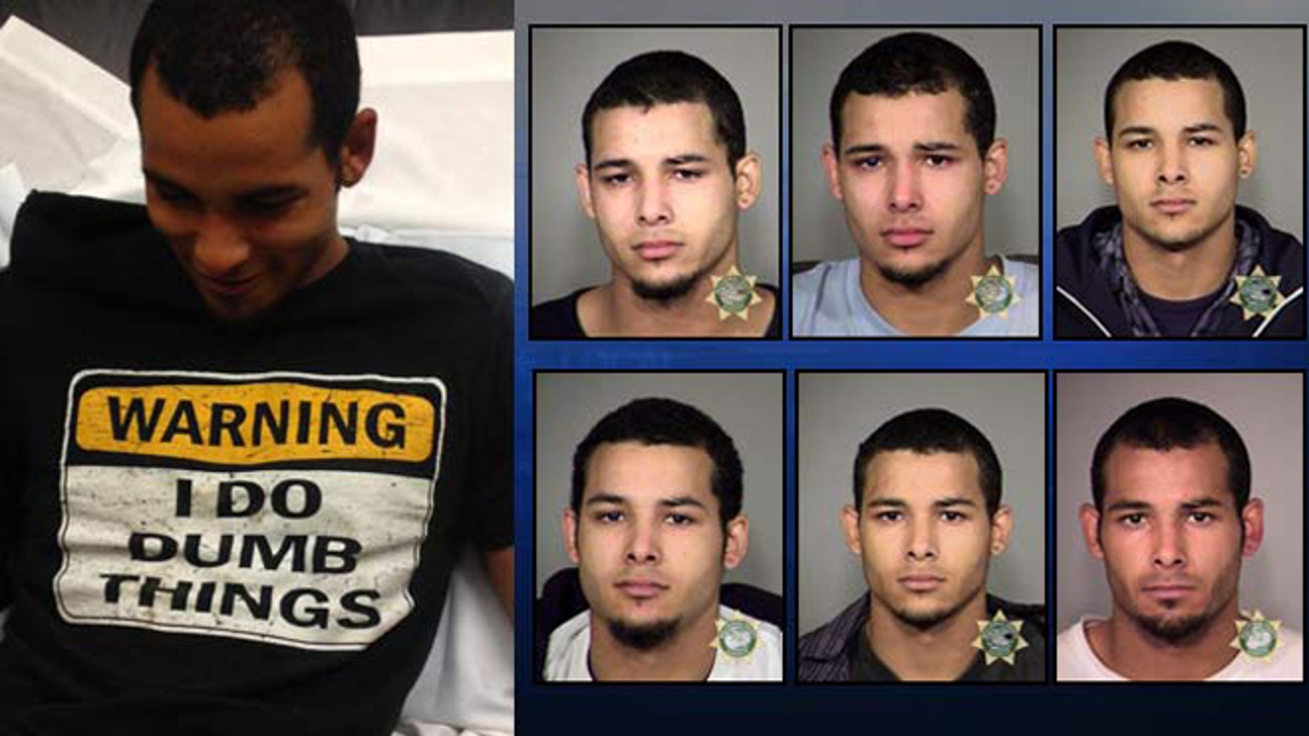 Roshawn Garrett following latest arrest on left, previous jail booking photos on right.