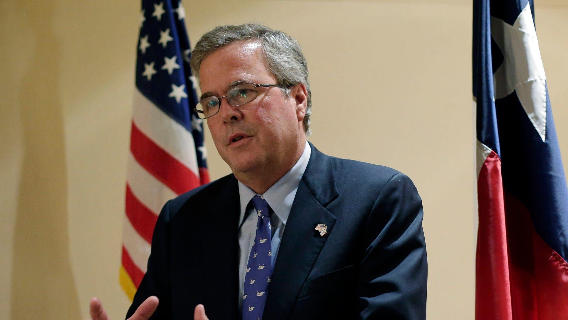 FILE: Feb. 26, 2013: Former Florida Gov. Jeb Bush, R, at a Texas Business Leadership Council event, Austin, Texas.