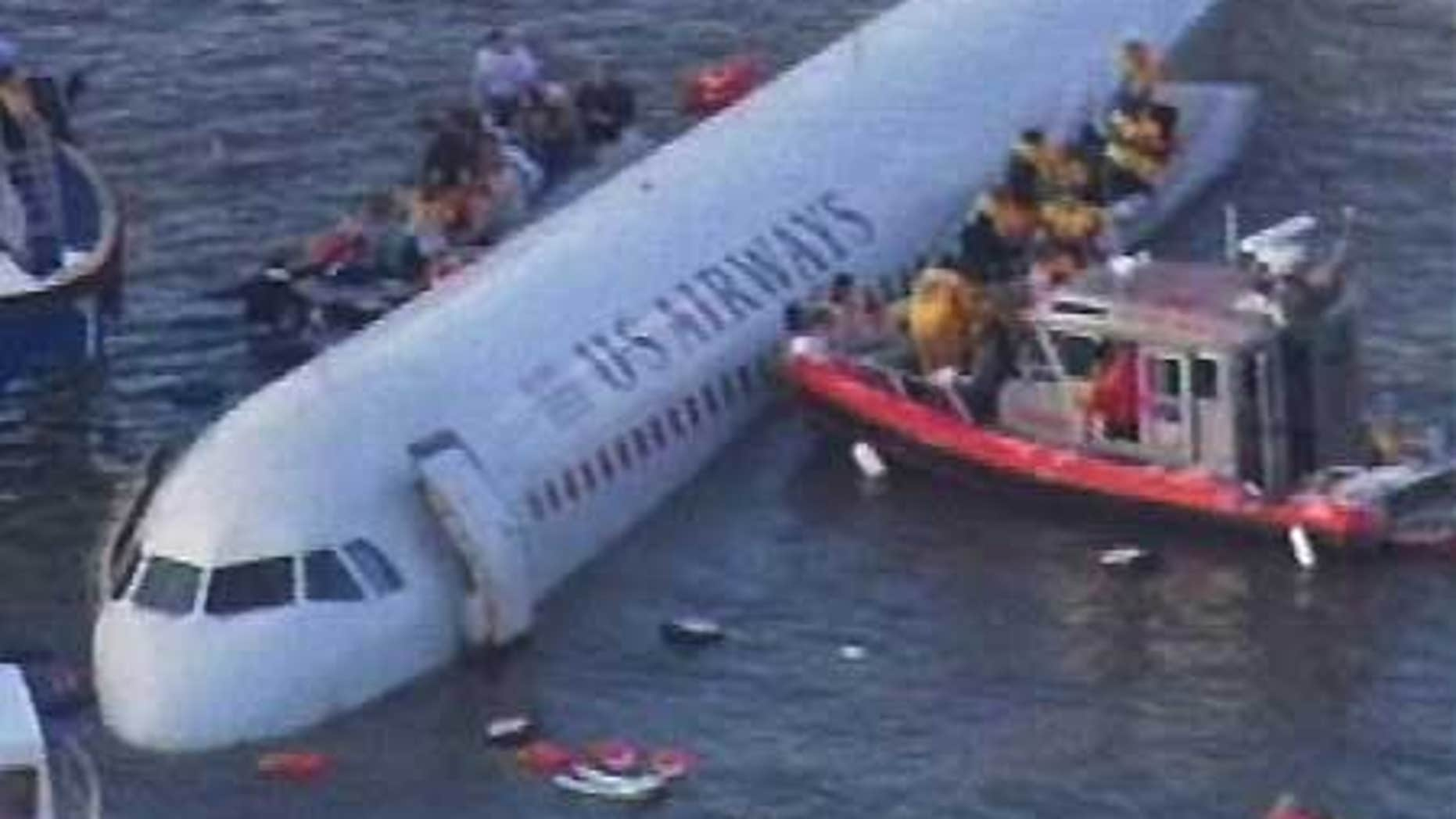Jan. 15: A US Airways plane floats in the Hudson River in New York City after birds hit the engines and it crashed.