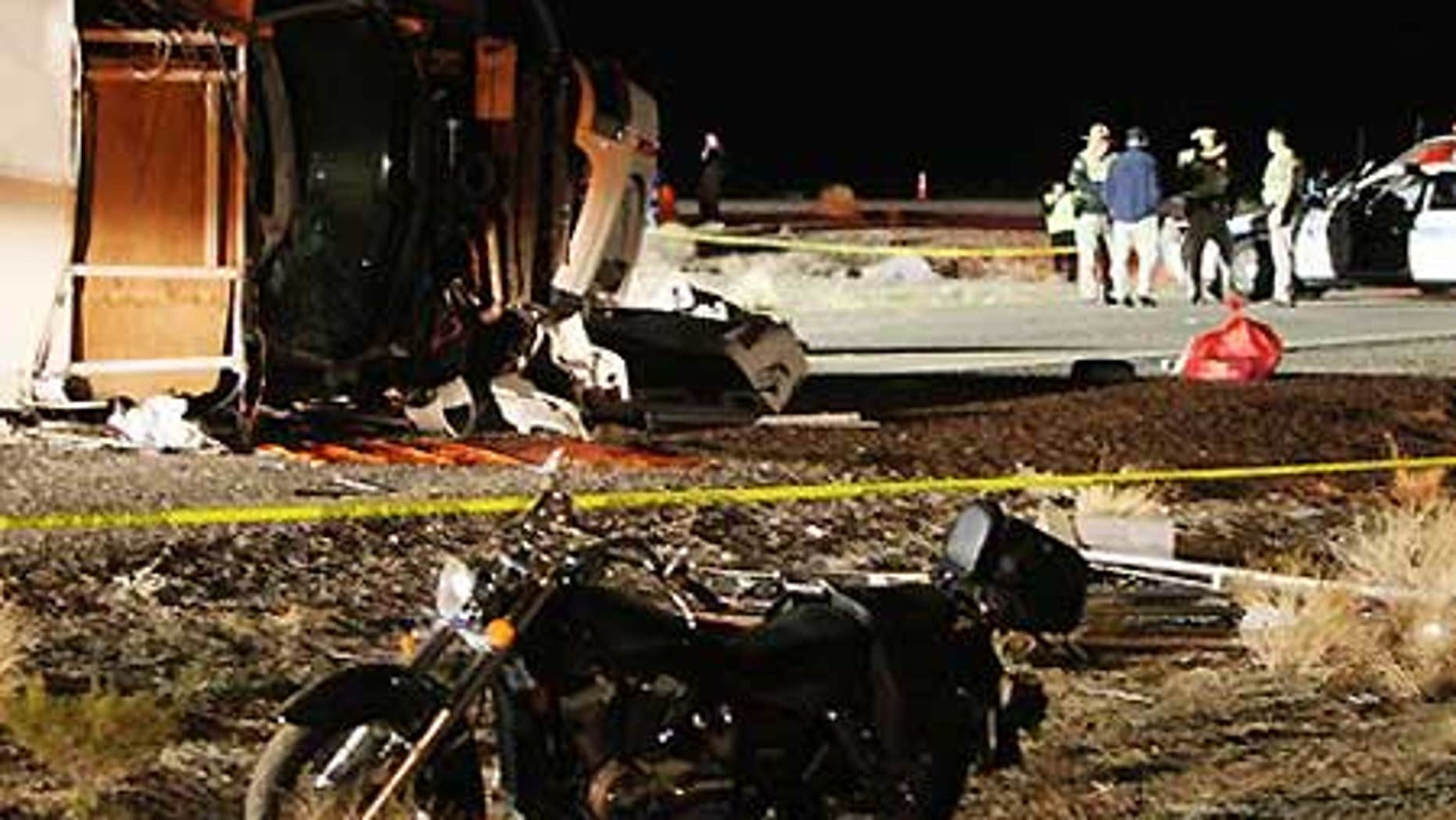 Jan. 30: The wreckage of a tour bus crash in Arizona, which killed at least 7 Chinese tourists.