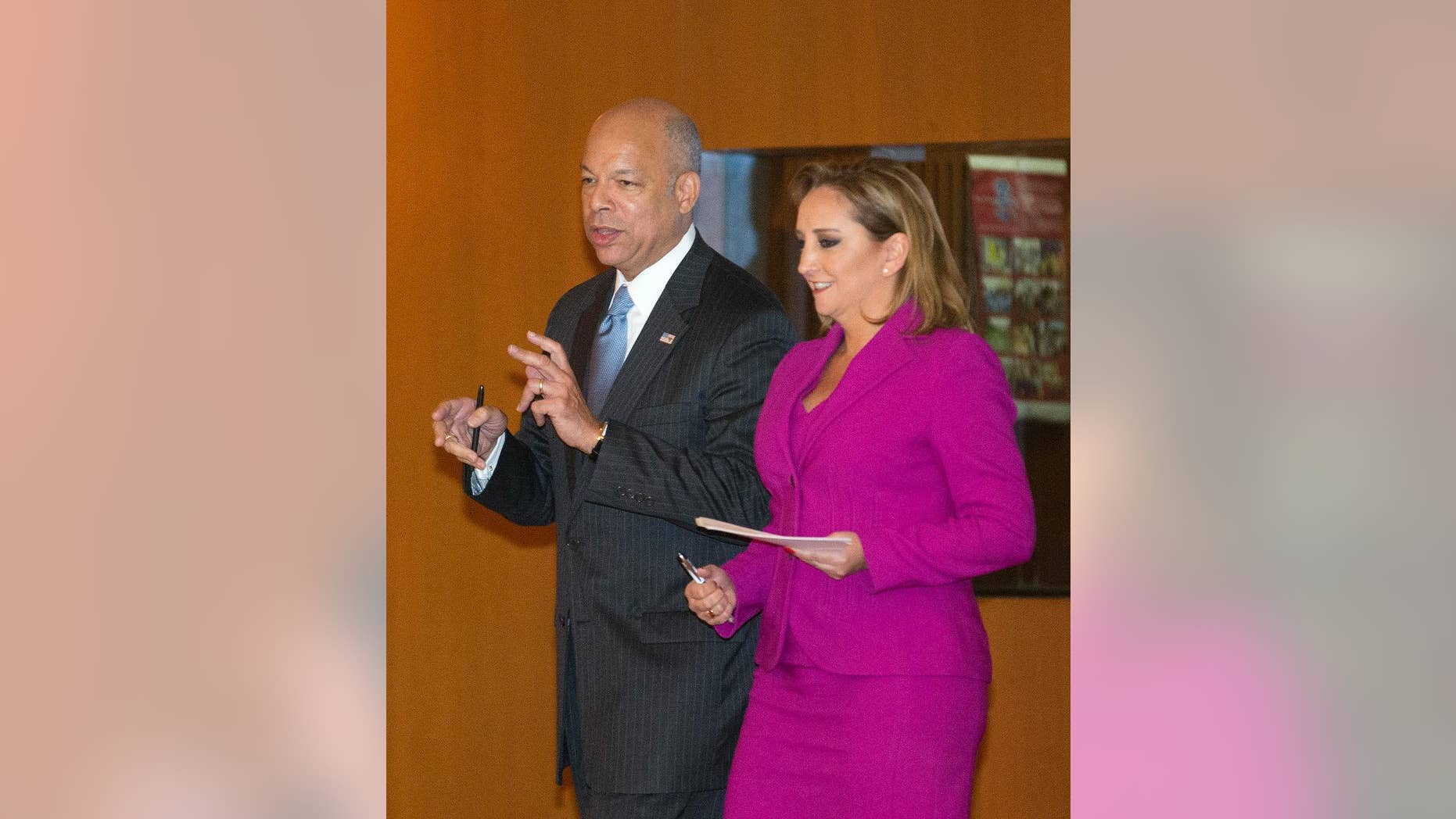 """U.S. Homeland Security Secretary Jeh Johnson, left, talks to Mexico's Foreign Affairs Minister Claudia Ruiz Massieu, in Mexico City, Tuesday, Oct. 11, 2016.  Johnson said during his visit to Mexico City, some flights to Haiti have been suspended due to Hurricane Matthew. He said Tuesday that U.S. officials will have to """"be sympathetic to the plight of the people of Haiti as a result."""" But after conditions change, """"we intend to resume the policy."""" (AP Photo/Eduardo Verdugo) (AP Photo/Eduardo Verdugo)"""