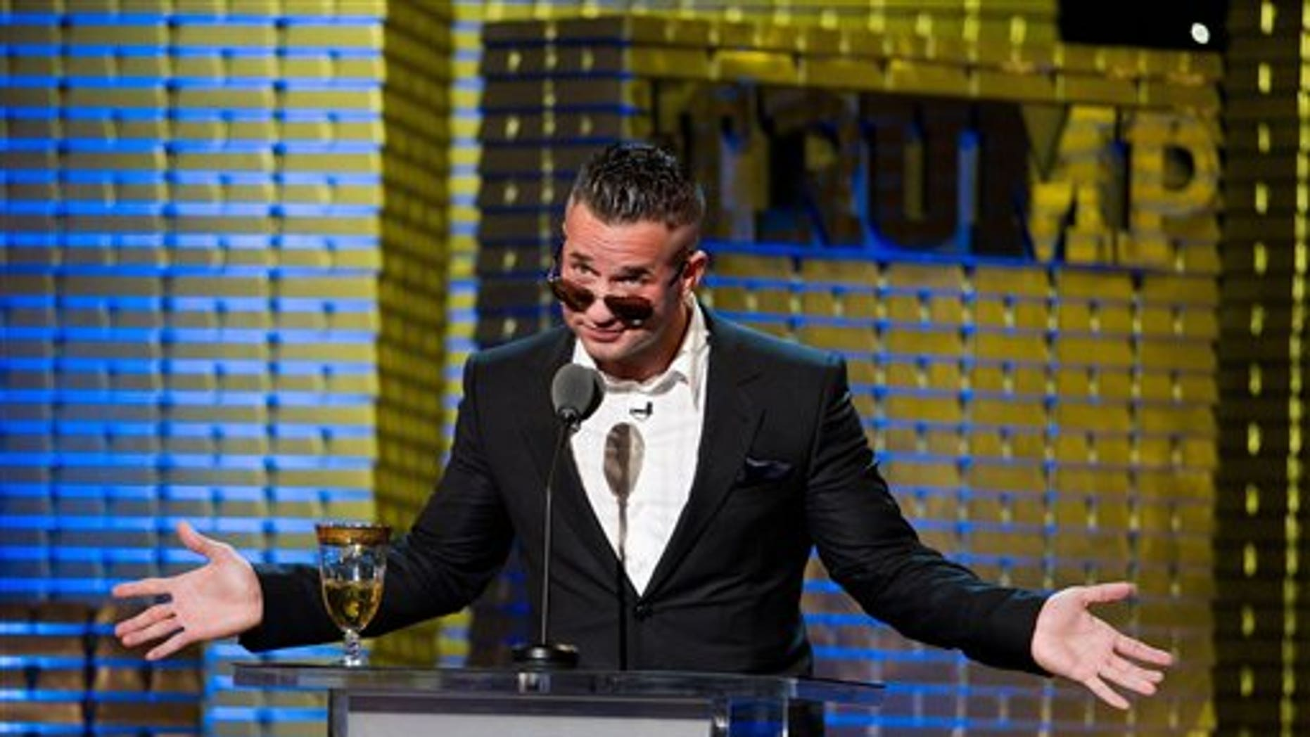 """March 9: Mike """"The Situation"""" Sorrentino appears onstage at the Comedy Central Roast of Donald Trump in New York. (AP)"""