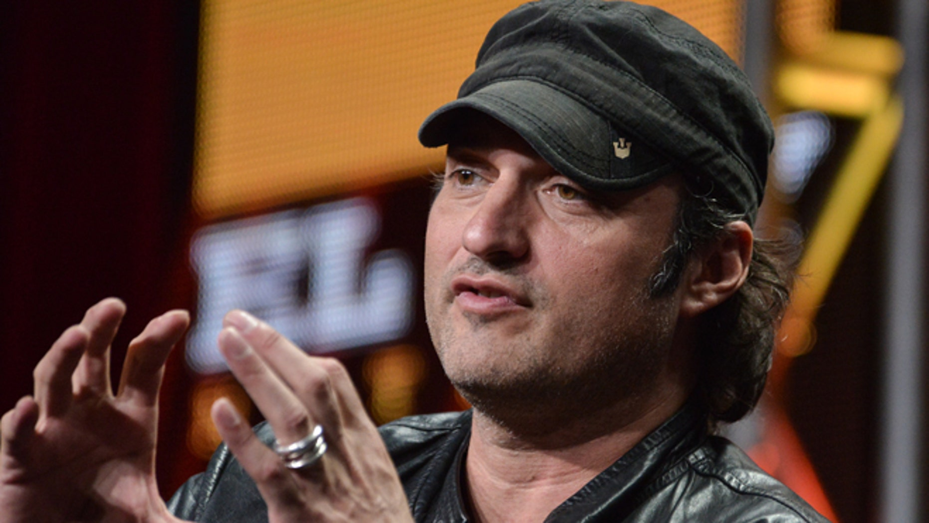 "Robert Rodriguez speaks onstage during the ""Matodor"" segment of the El Rey Network 2014 Summer TCA on Thursday, July 10, 2014, in Beverly Hills, Calif. (Photo by Richard Shotwell/Invision/AP)"