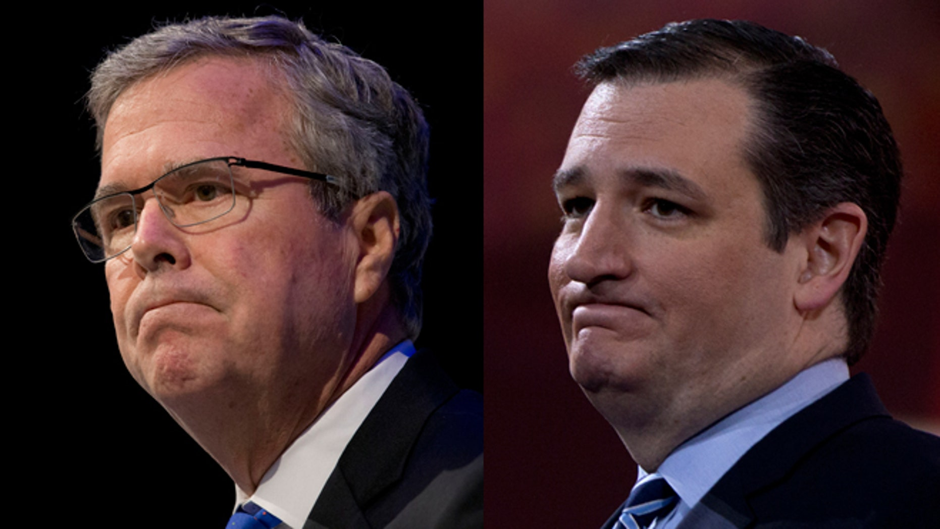 Left: Former Florida Gov. Jeb Bush. (AP Photo/Paul Sancya, File) Right: Sen. Ted Cruz, R-Texas pauses as he speaks during the Conservative Political Action Conference (CPAC) in National Harbor, Md., Thursday, Feb. 26, 2015. (AP Photo/Carolyn Kaster)