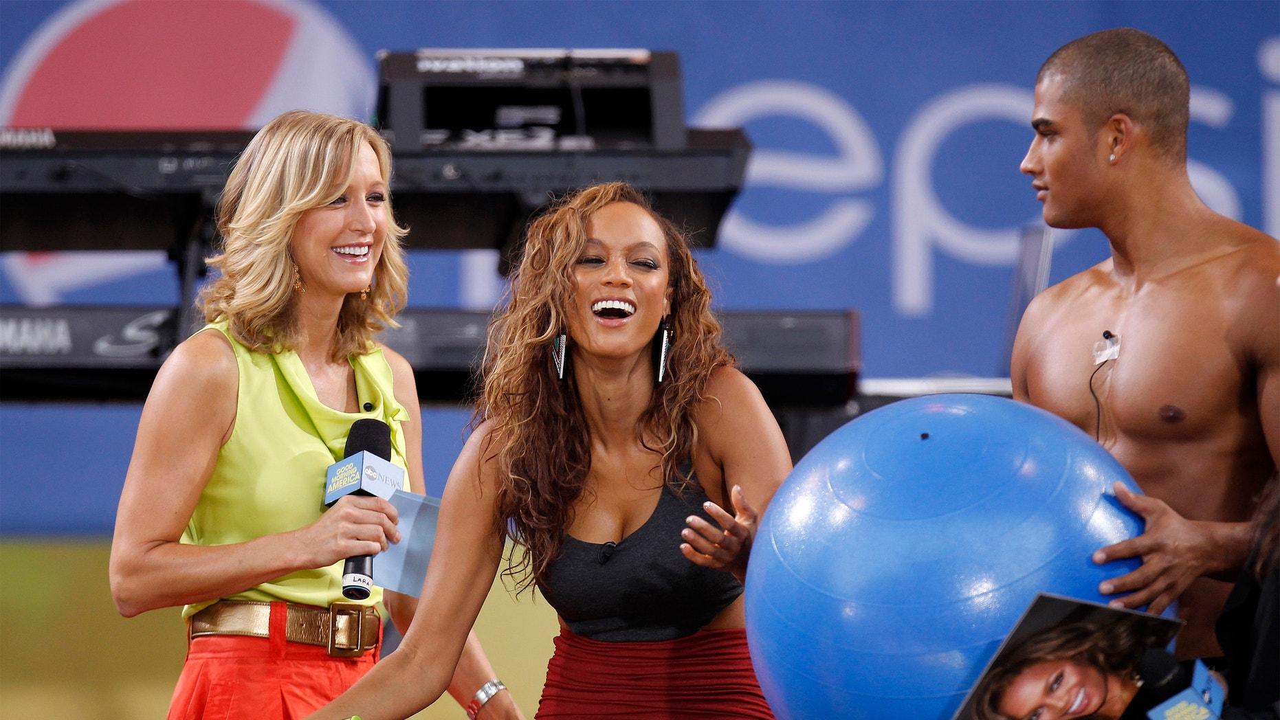 Lara Spencer hosts a 'GMA' segment featuring Tyra Banks.