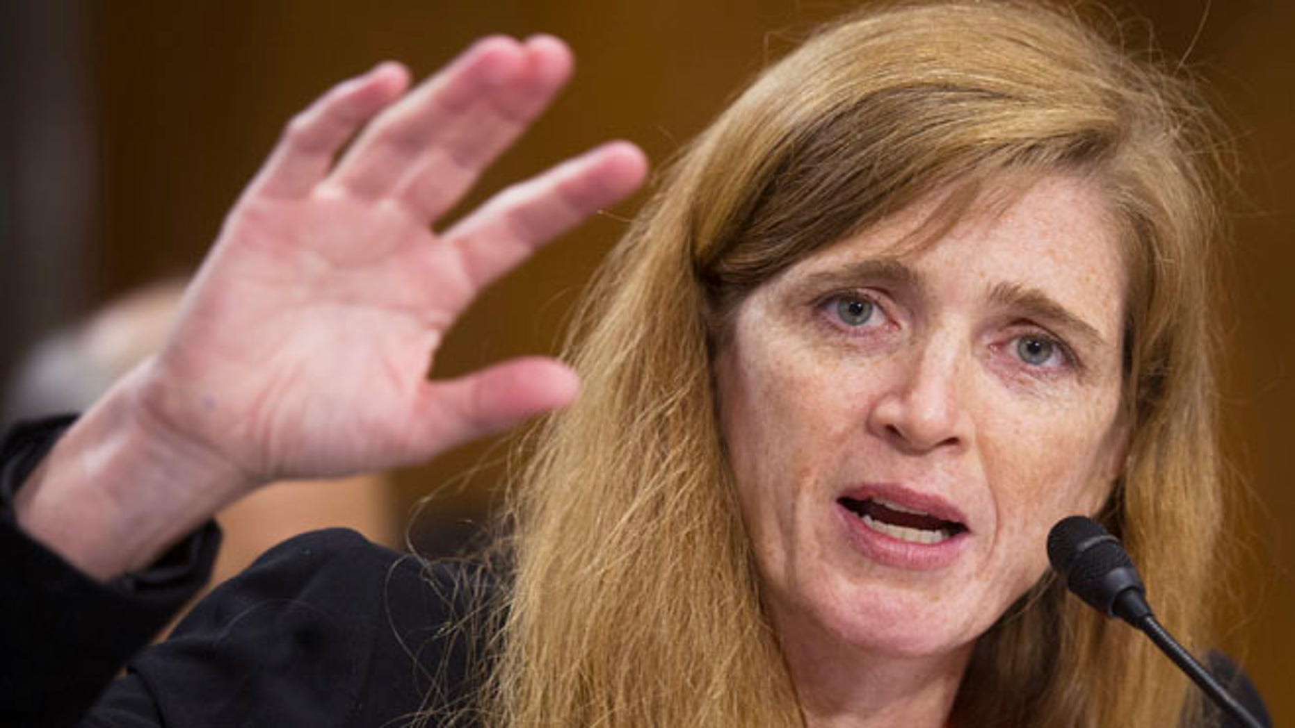 FILE: July 17, 2013: U.S. Ambassador to the U.N. nominee Samantha Power testifies on Capitol Hill in Washington, D.C.