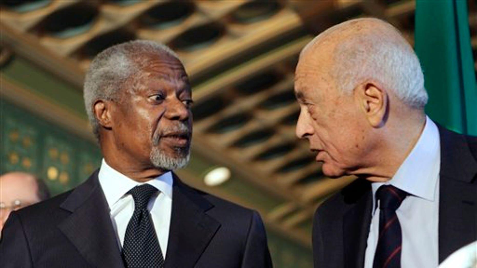 March 8: Former U.N. chief Kofi Annan, left, listens to Arab League chief Nabil Elaraby during a presser following their meeting at the Arab league headquarters in Cairo, Egypt.