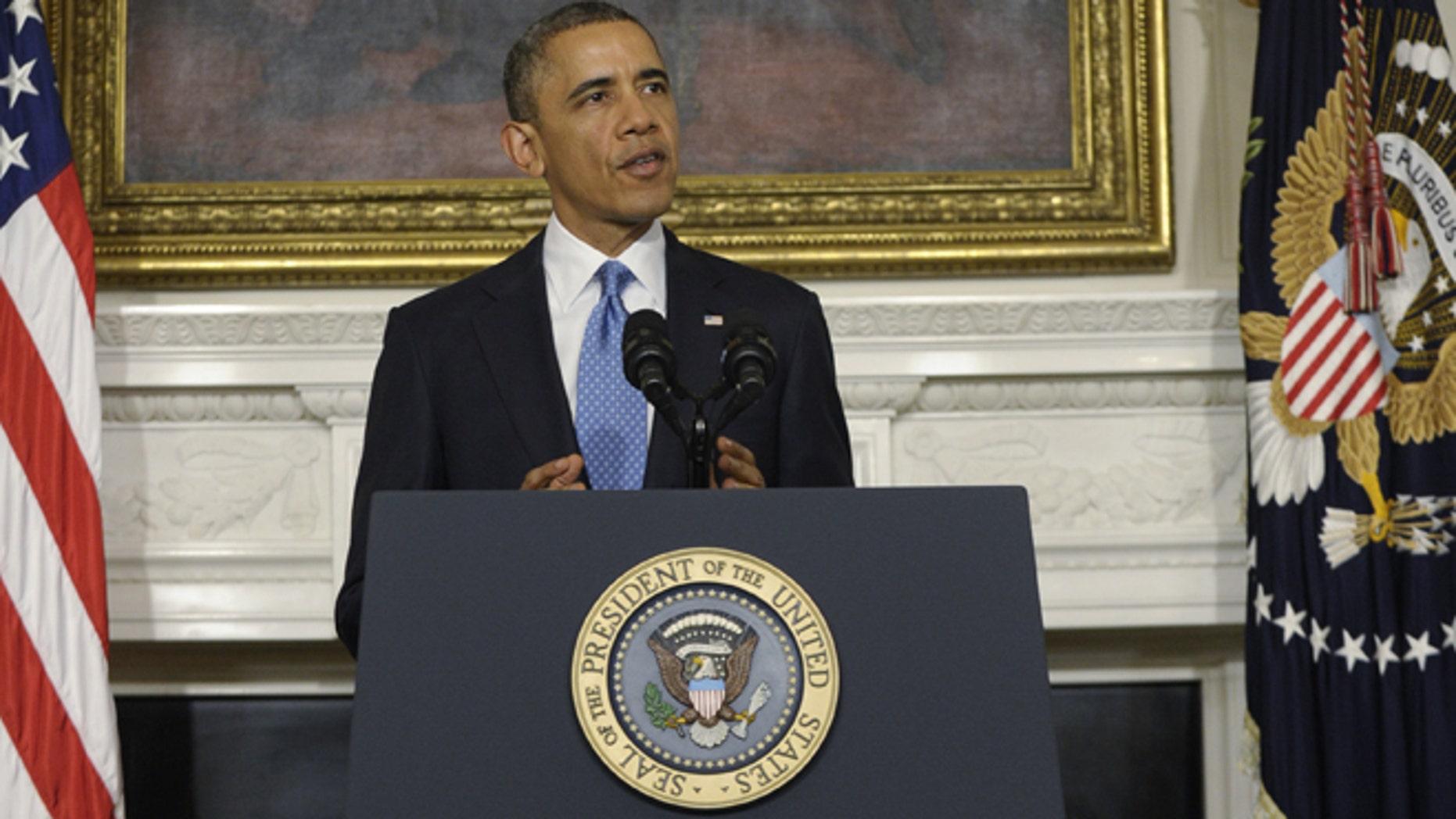 Nov. 23, 2013: President Barack Obama speaks in the State Dining Room at the White House