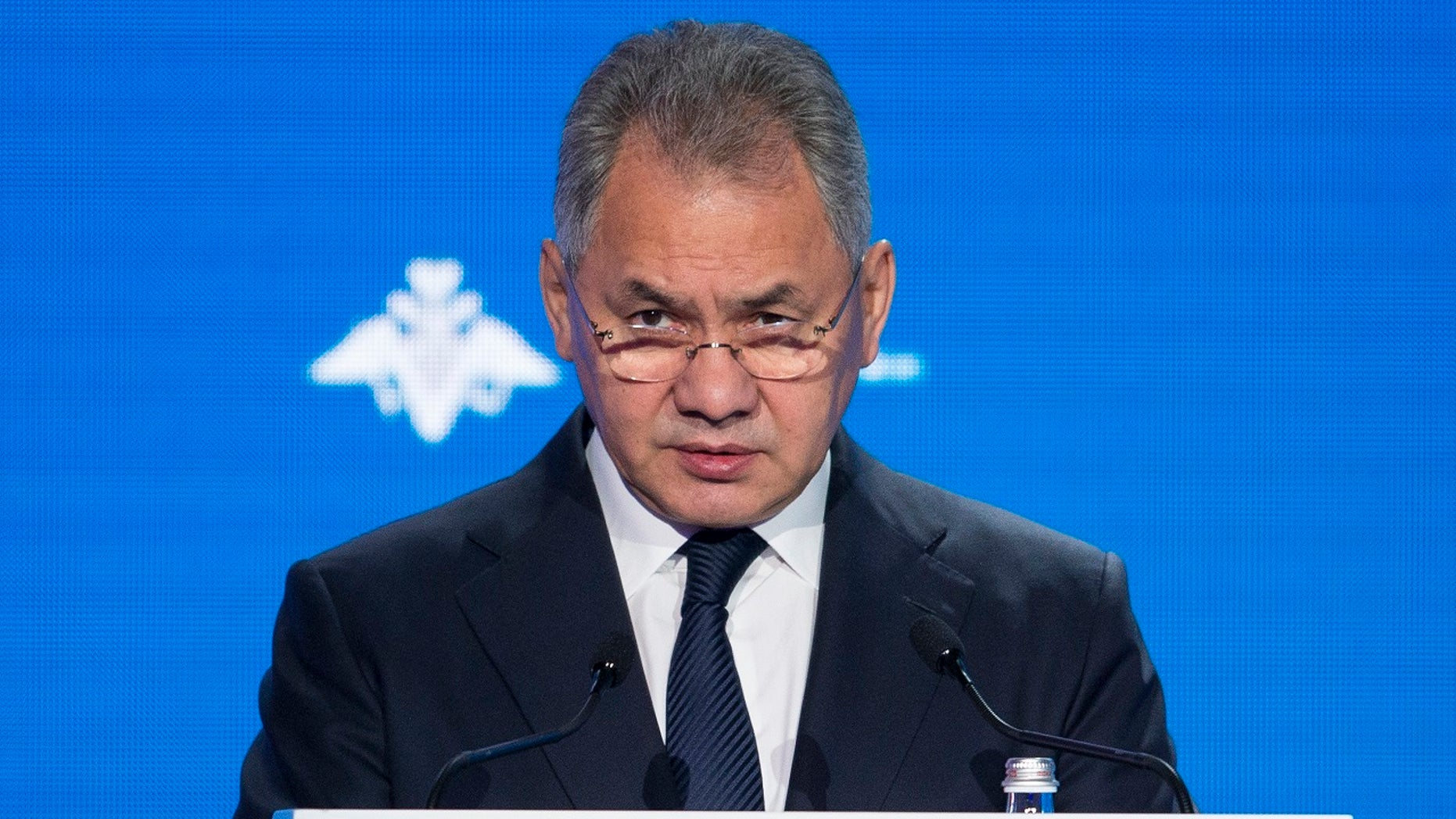 Russian Defense Minister Sergei Shoigu speaks during the Conference on International Security in Moscow, Russia, Wednesday, April 4, 2018.
