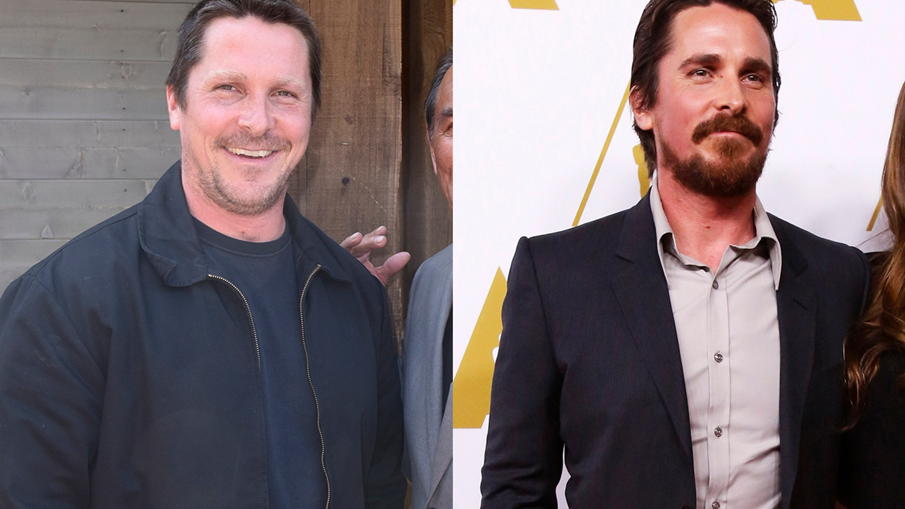 """Christian Bale packed on the pounds to play former Vice President Dick Cheney in the upcoming film """"Backseat."""" The actor looks very different (left) than his typically fit physique (right). <a href=""""http://www.etonline.com/slideshow/gallery/126866_Actors_Body_Transformations_For_Roles/50024"""" target=""""_blank"""">Click here for more celebrity transformation pics.</a>"""