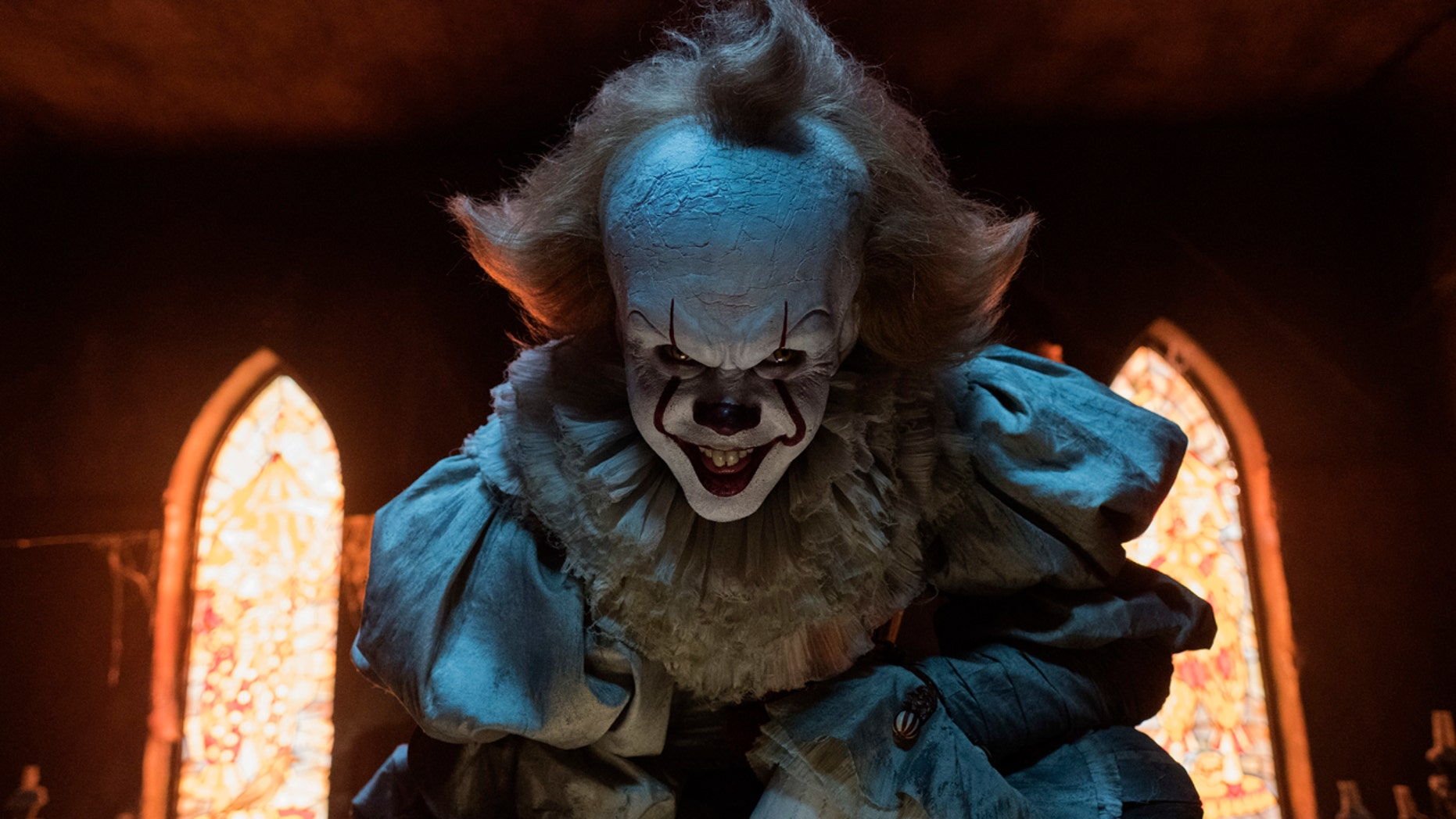 "Bill Skarsgard stars as Pennywise the clown in ""It,"" a new horror film based on a Stephen King novel."
